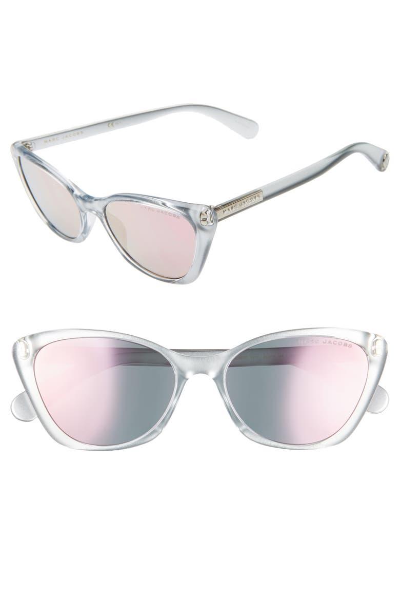 Marc Jacobs Sunglasses 56MM CAT EYE SUNGLASSES - GREY/ SILVER