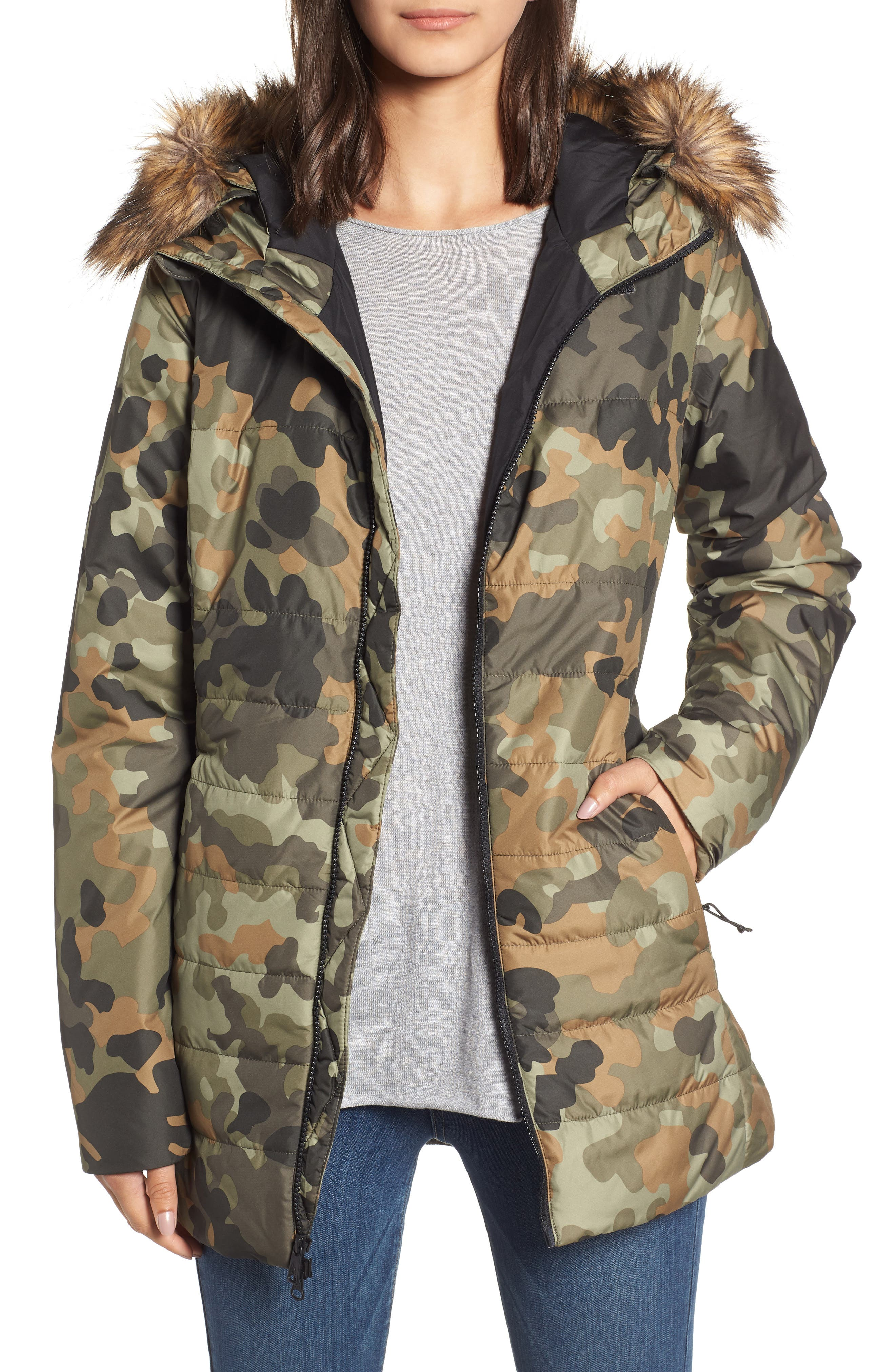 THE NORTH FACE, Harway Heatseeker<sup>™</sup> Water-Resistant Jacket with Faux Fur Trim, Main thumbnail 1, color, NEW TAUPE GREEN MACROFLECK