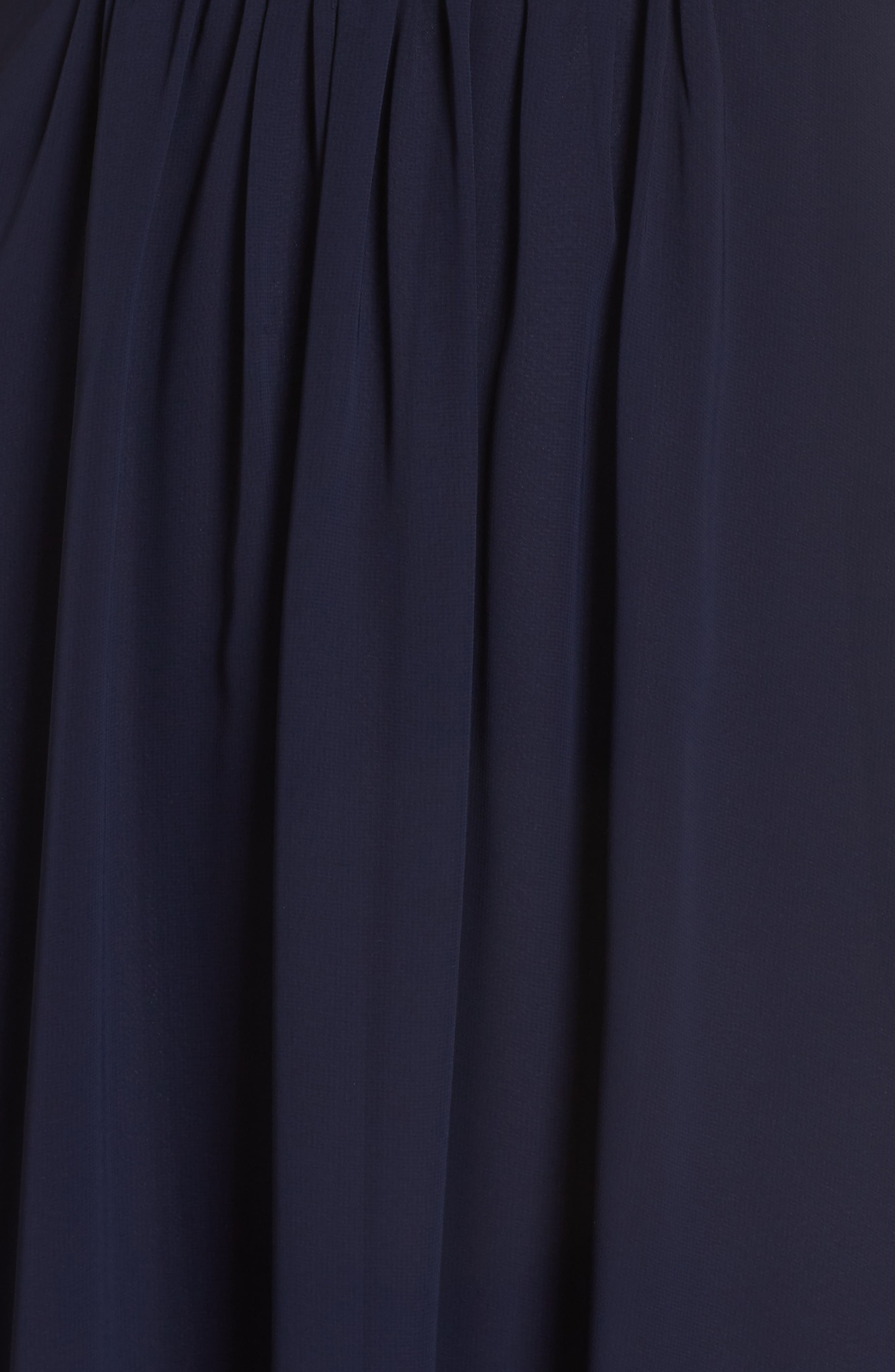 ELIZA J, Wrap Look High/Low Chiffon Dress, Alternate thumbnail 6, color, NAVY