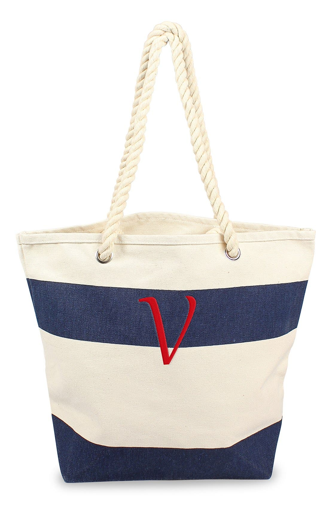 CATHY'S CONCEPTS, Monogram Stripe Canvas Tote, Main thumbnail 1, color, 432