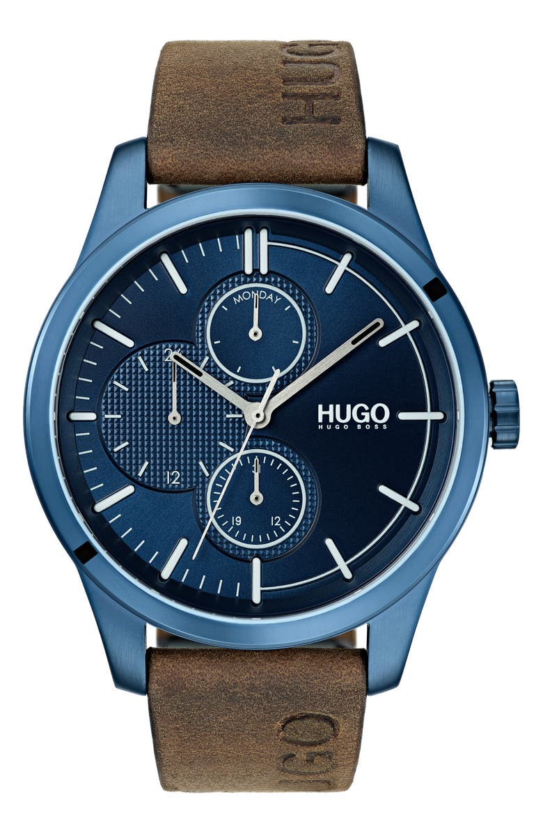 Hugo Watches DISCOVER MULTIFUNCTION LEATHER STRAP WATCH, 46MM