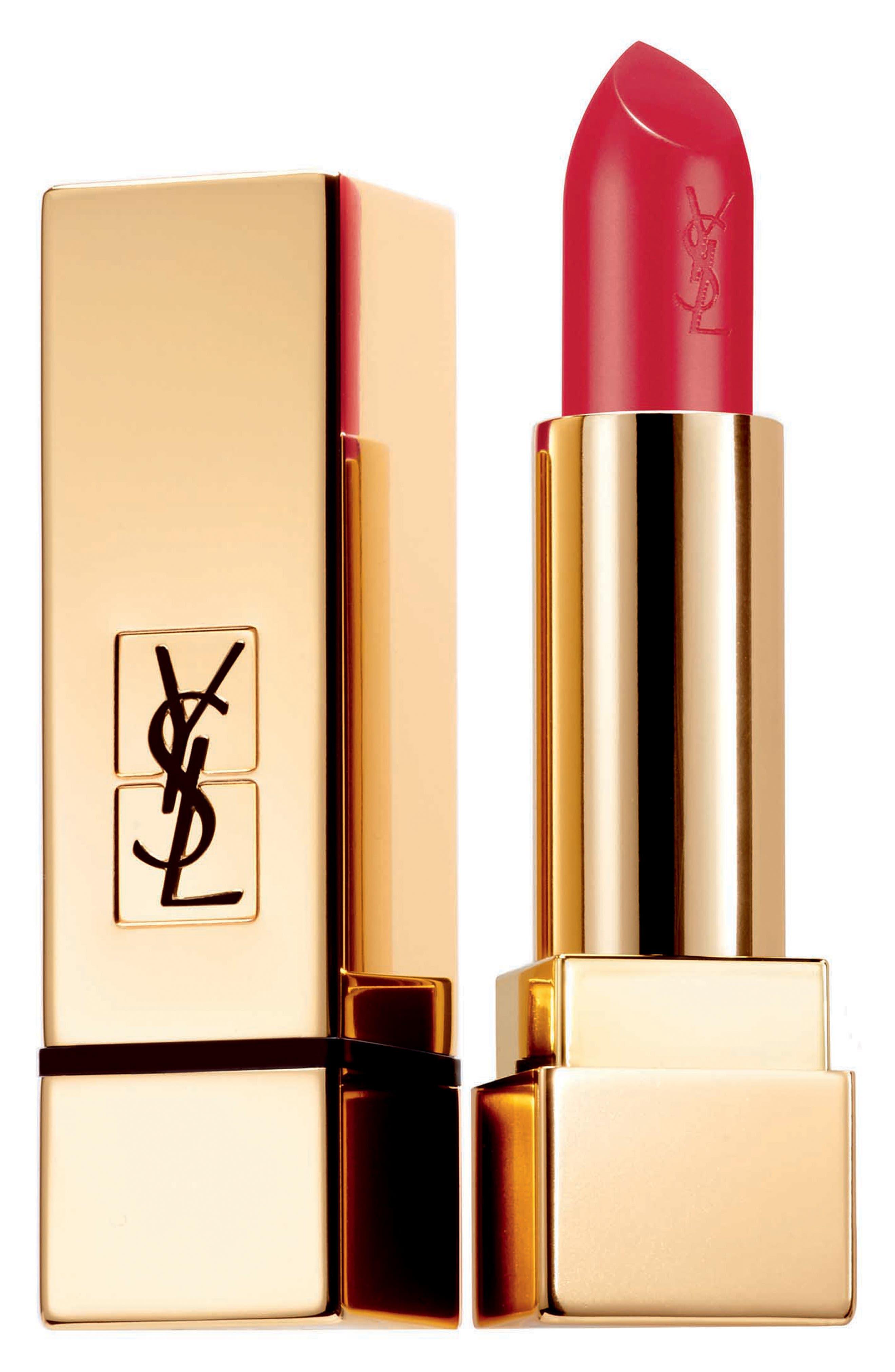 YVES SAINT LAURENT, Rouge Pur Couture Satin Lipstick, Main thumbnail 1, color, 01 LE ROUGE