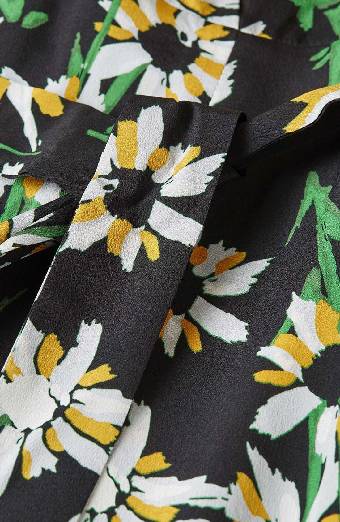 TOPSHOP BOUTIQUE, Daisy Print Silk Kimono Dress, Alternate thumbnail 4, color, 001