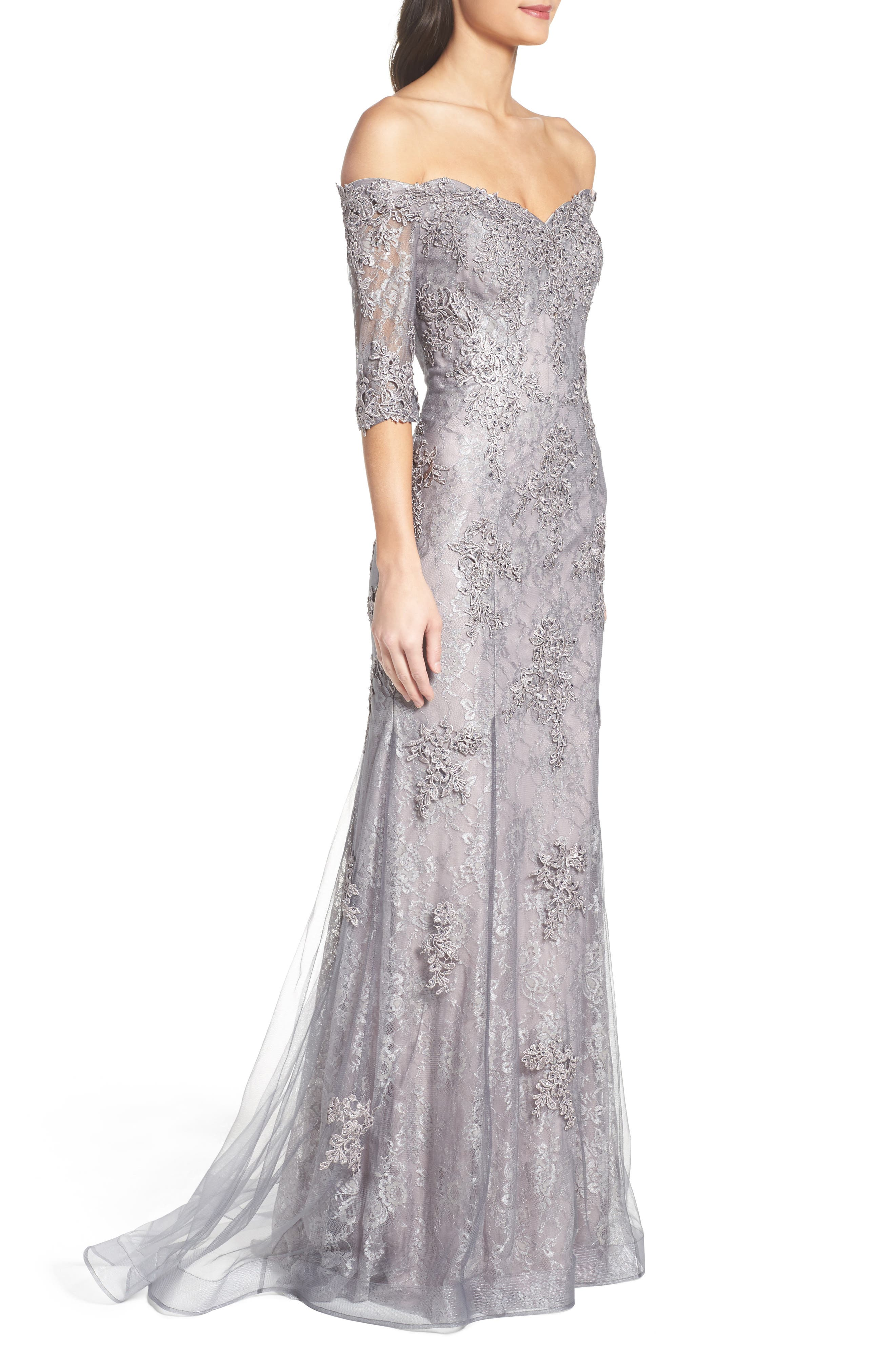 LA FEMME, Fit & Flare Gown with Train, Alternate thumbnail 3, color, PINK/ GRAY