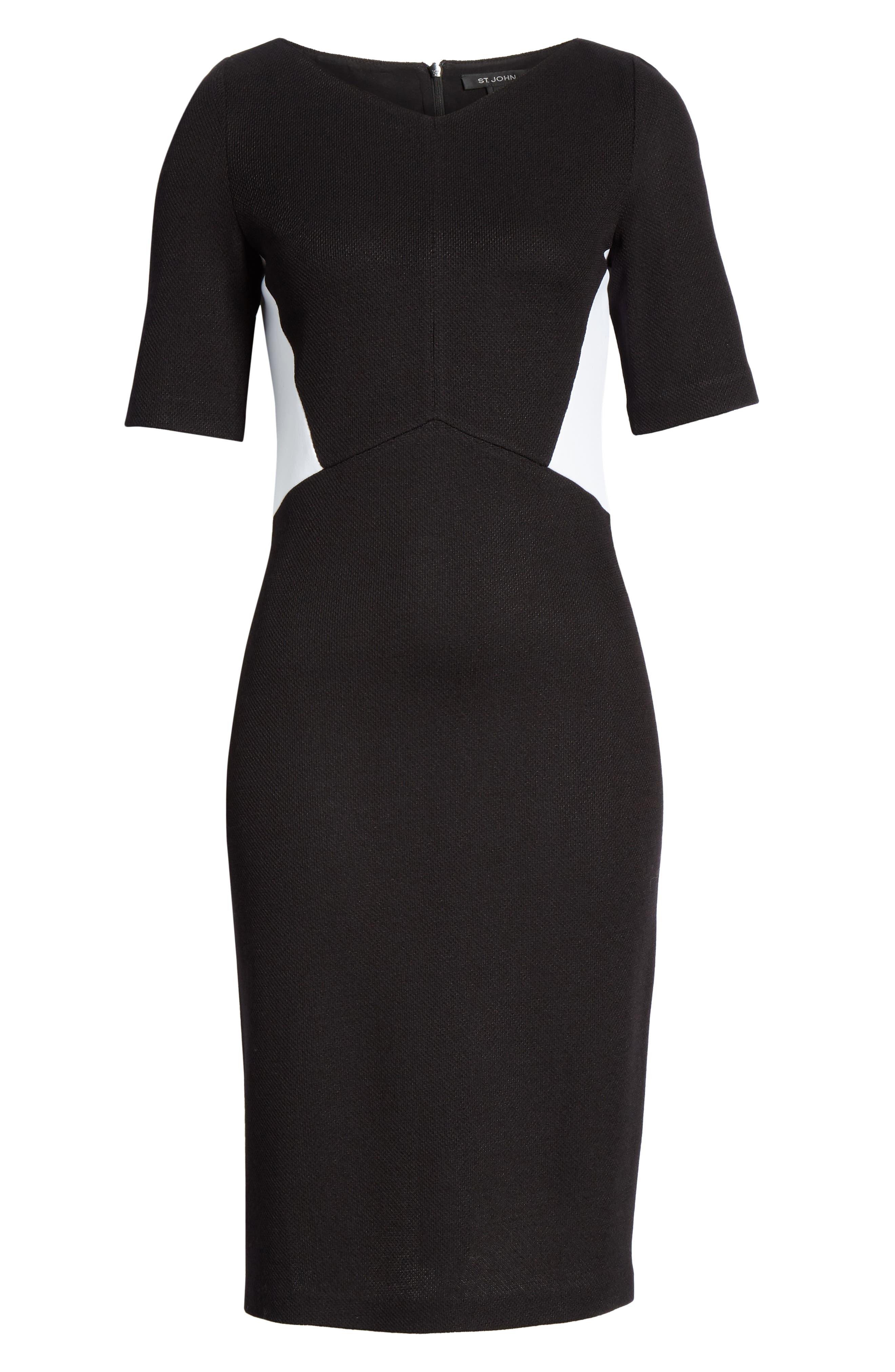 ST. JOHN COLLECTION, Piqué Milano Knit Dress, Alternate thumbnail 7, color, CAVIAR/ BIANCO