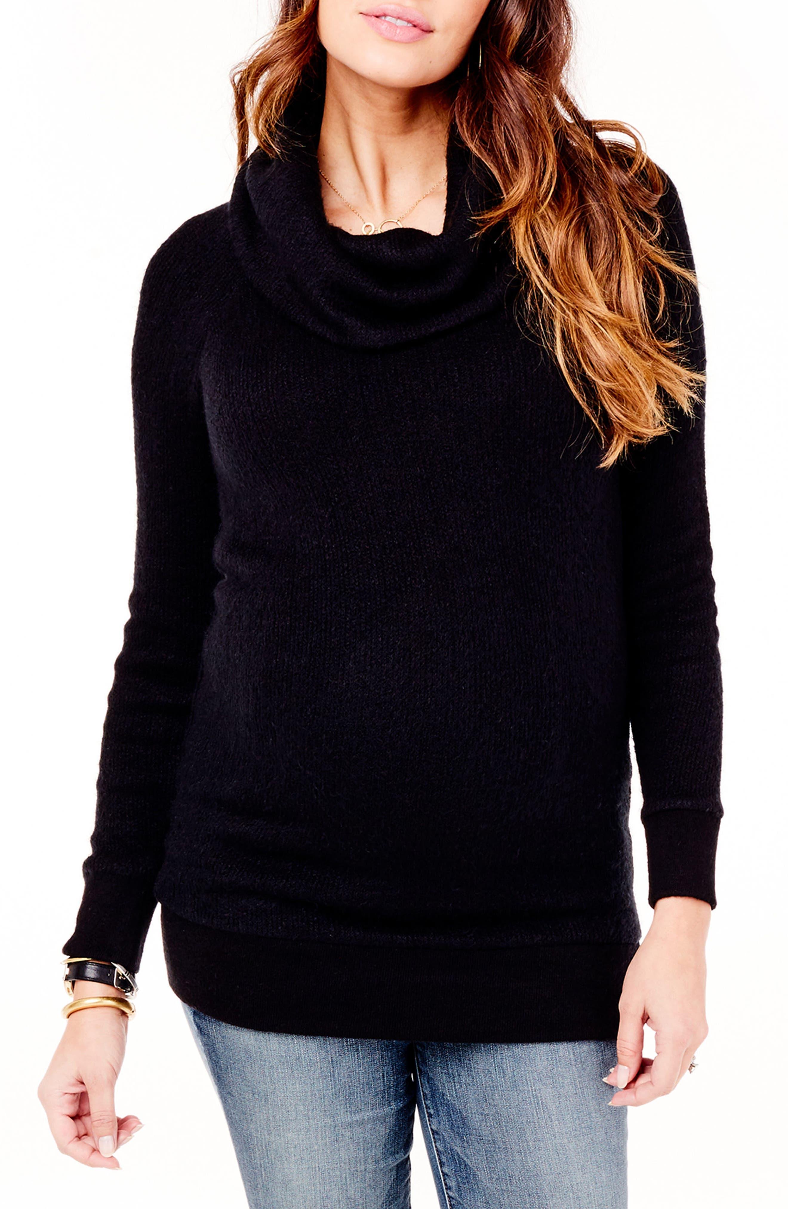 INGRID & ISABEL<SUP>®</SUP>, Cowl Neck Maternity Sweater, Main thumbnail 1, color, JET BLACK