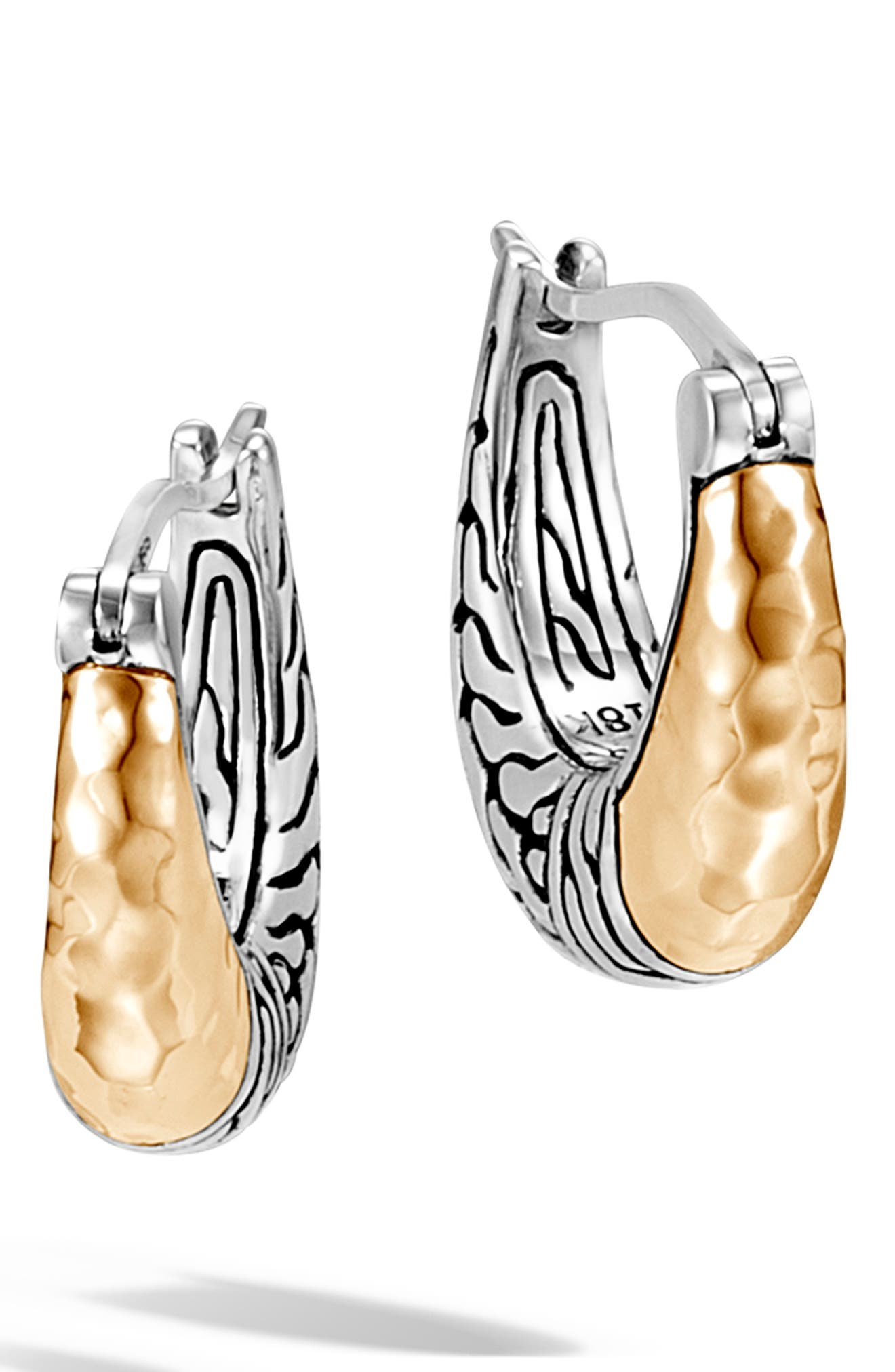 JOHN HARDY, Classic Chain Small Hoop Earrings, Main thumbnail 1, color, SILVER/ GOLD