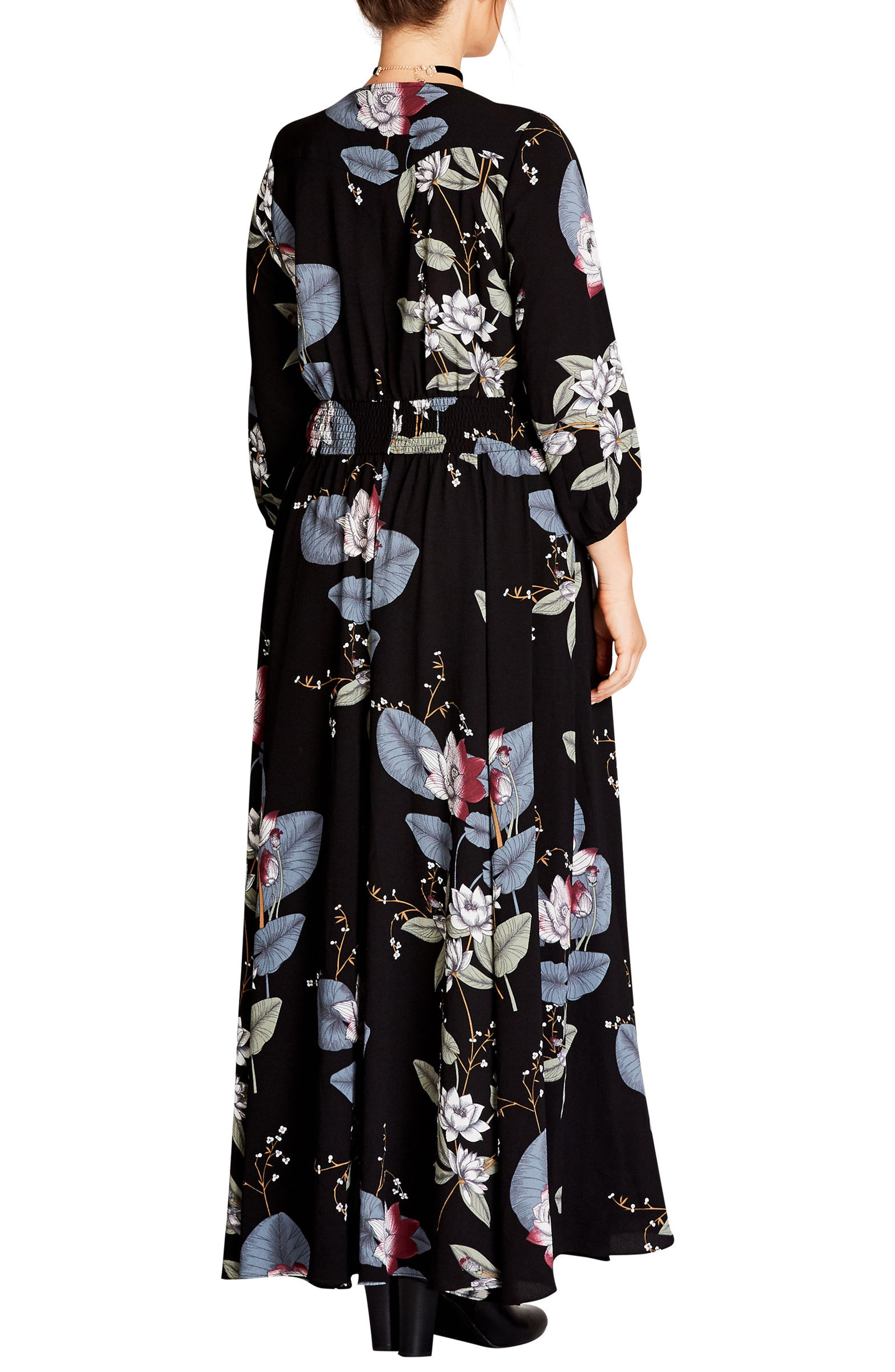 CITY CHIC, Blossom Maxi Dress, Alternate thumbnail 2, color, BLOSSOM