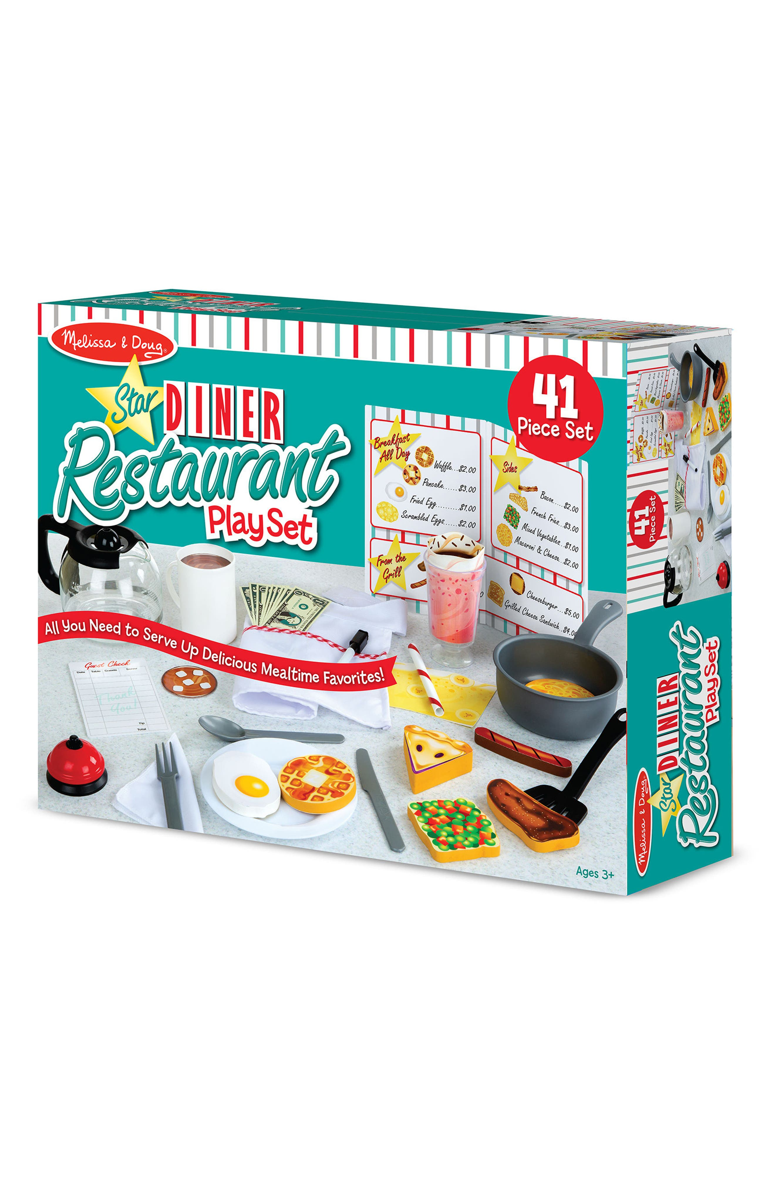 MELISSA & DOUG, 41-Piece Star Diner Restaurant Play Set, Alternate thumbnail 2, color, WHITE