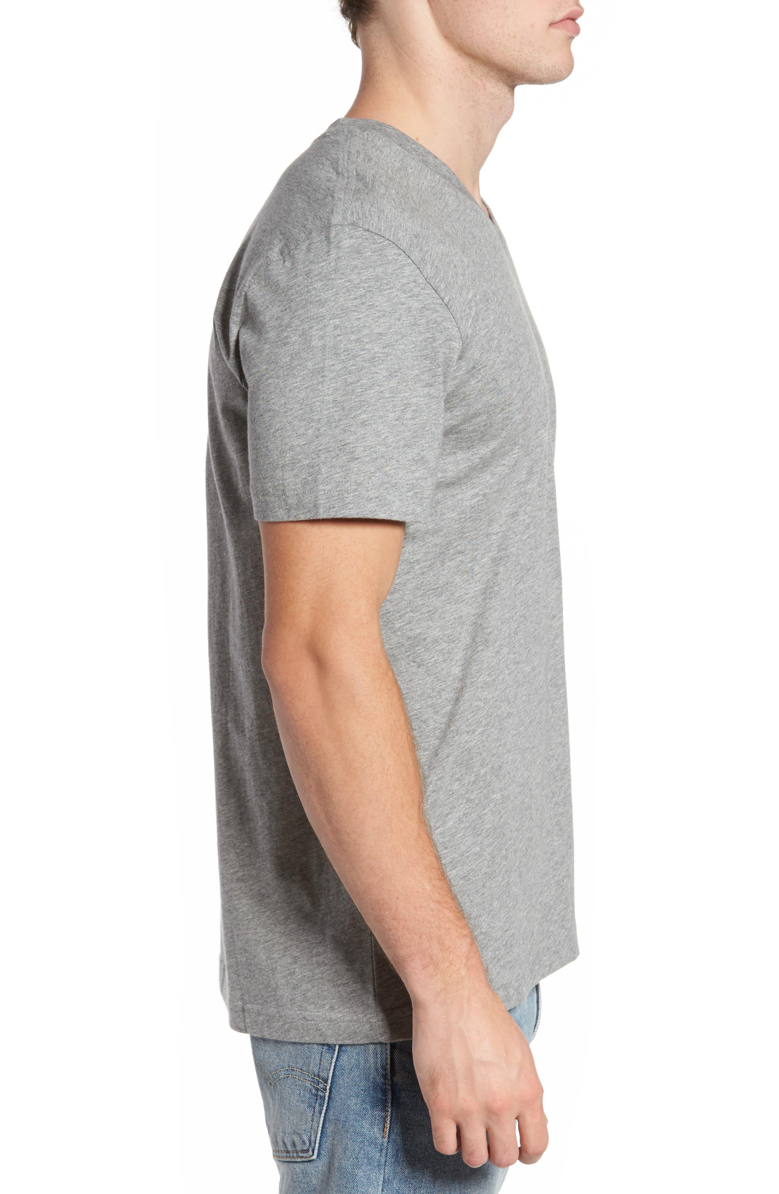 PSYCHO BUNNY, Classic V-Neck T-Shirt, Alternate thumbnail 3, color, HEATHER GREY