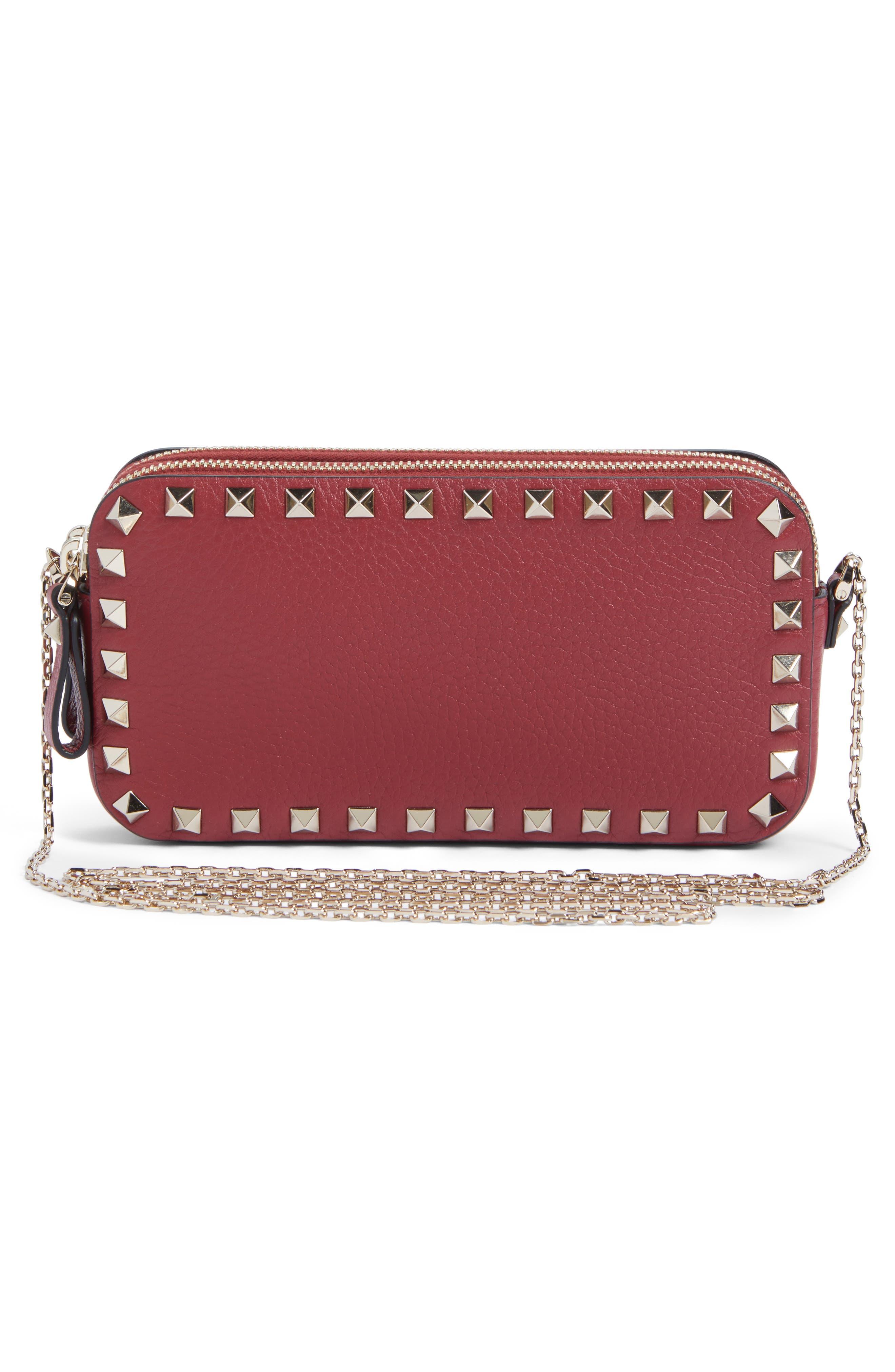 VALENTINO GARAVANI, Rockstud Leather Crossbody Bag, Alternate thumbnail 3, color, RUBIN