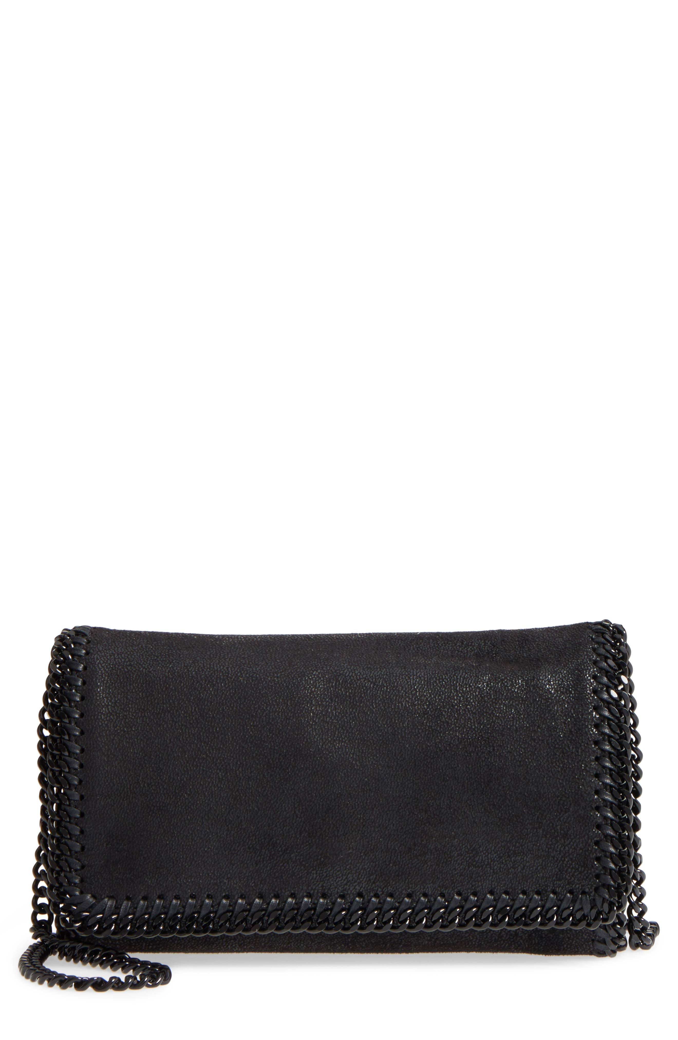 STELLA MCCARTNEY Falabella Shaggy Deer Faux Leather Clutch, Main, color, BLACK OUT