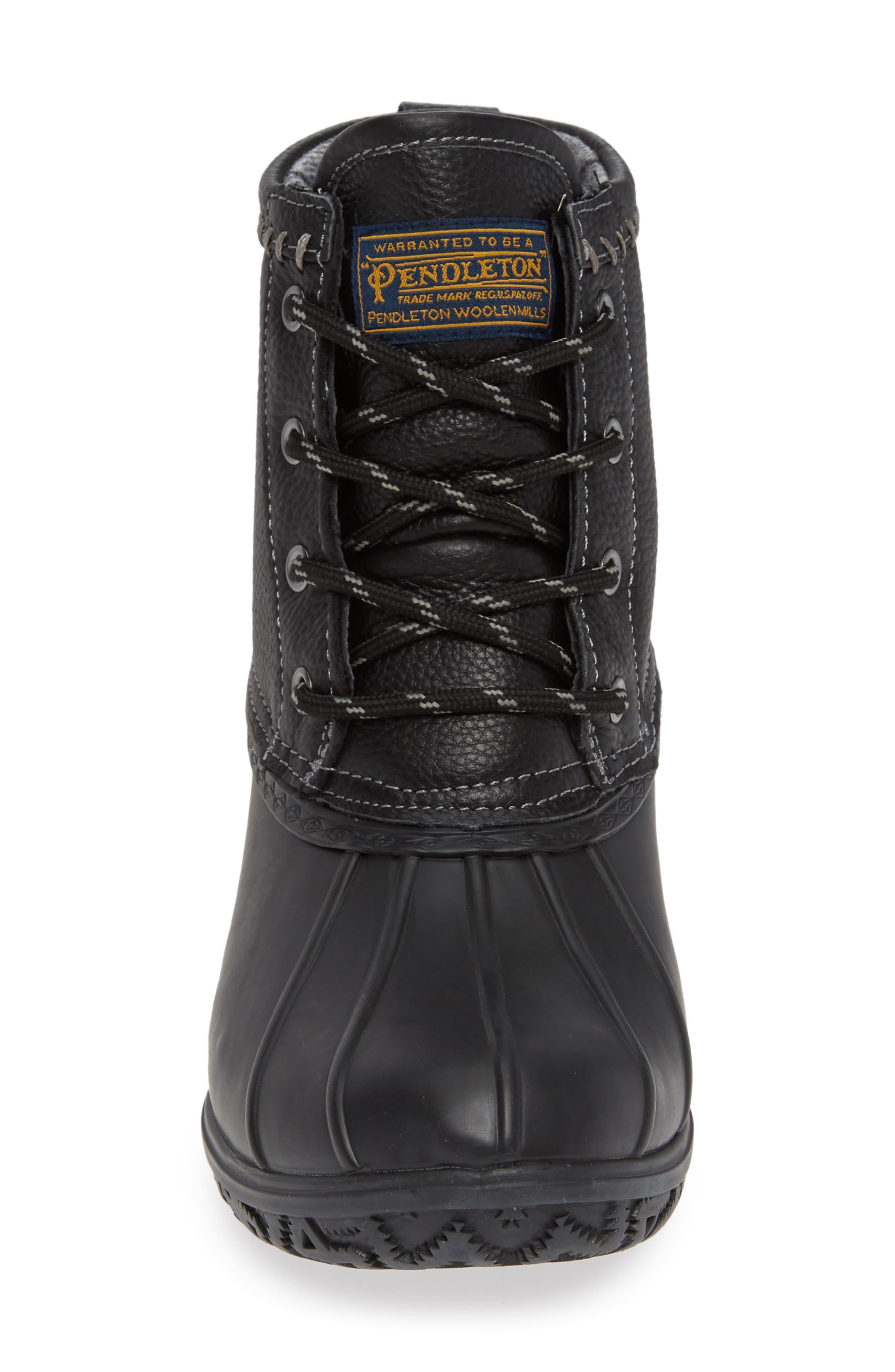 PENDLETON, Waterproof Duck Boot, Alternate thumbnail 4, color, BLACK RUBBER