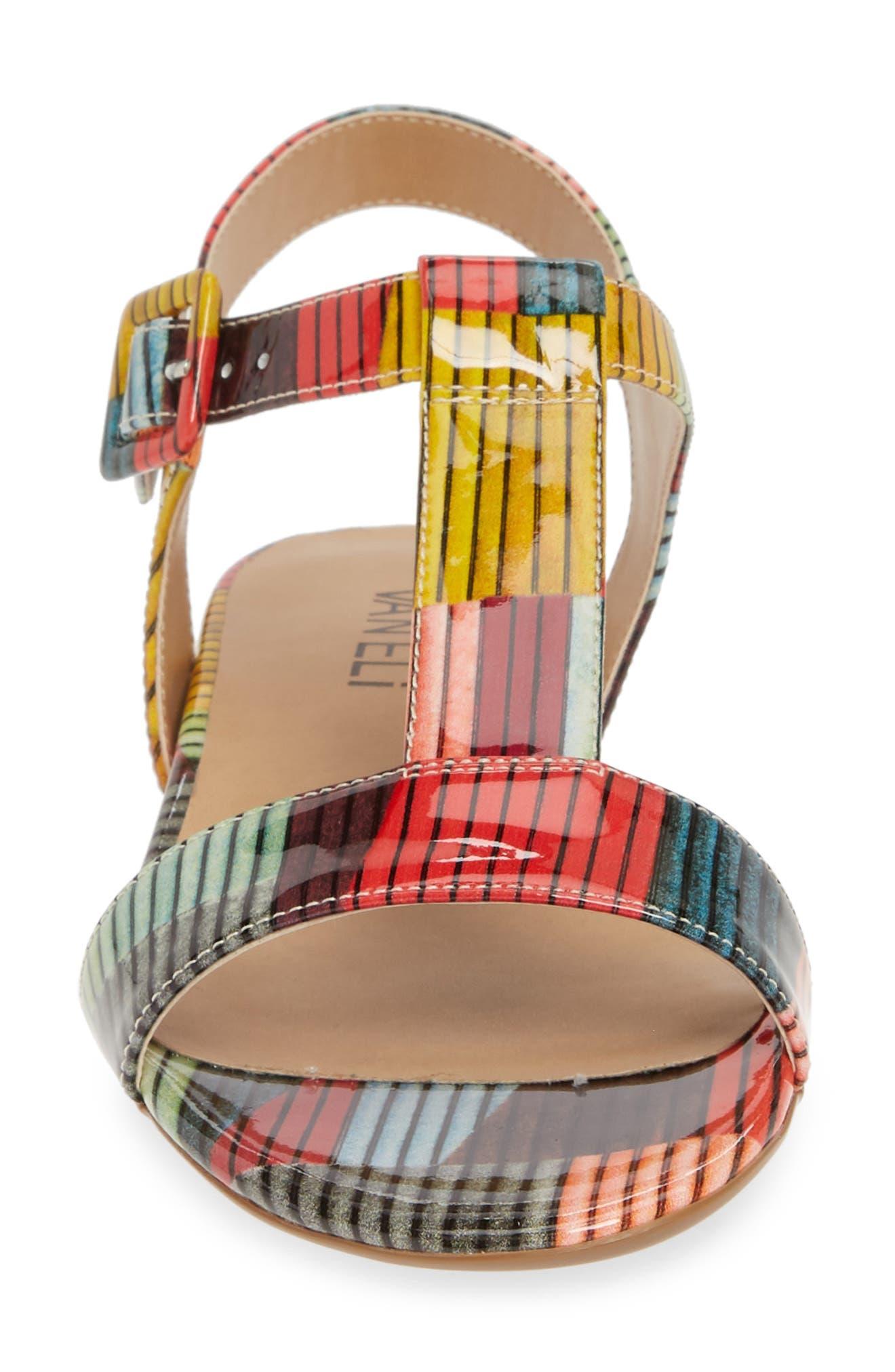 VANELI, Burlie T-Strap Sandal, Alternate thumbnail 4, color, MULTICOLOR PATENT LEATHER