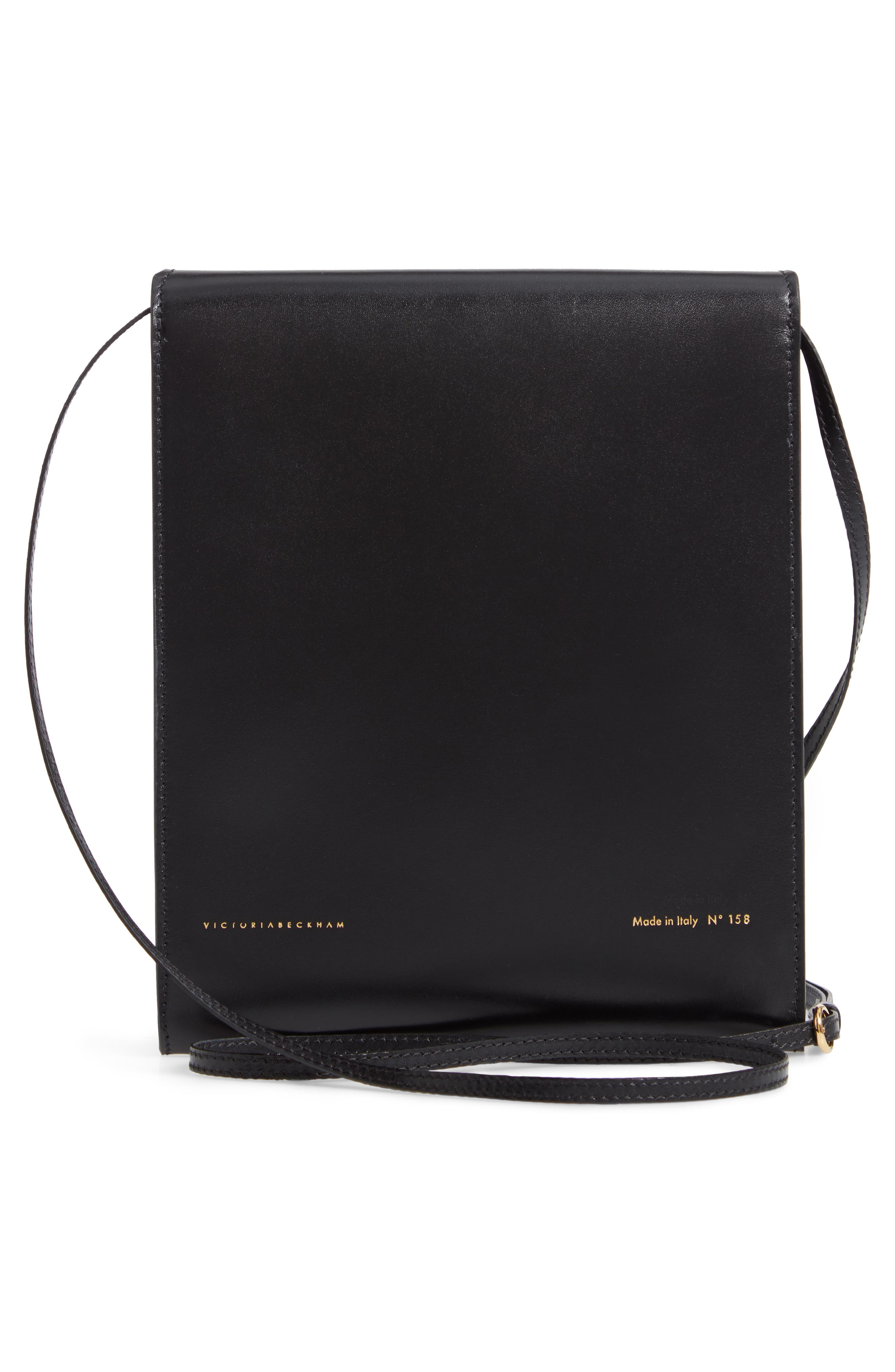 VICTORIA BECKHAM, Postino Leather Crossbody Bag, Alternate thumbnail 3, color, BLACK