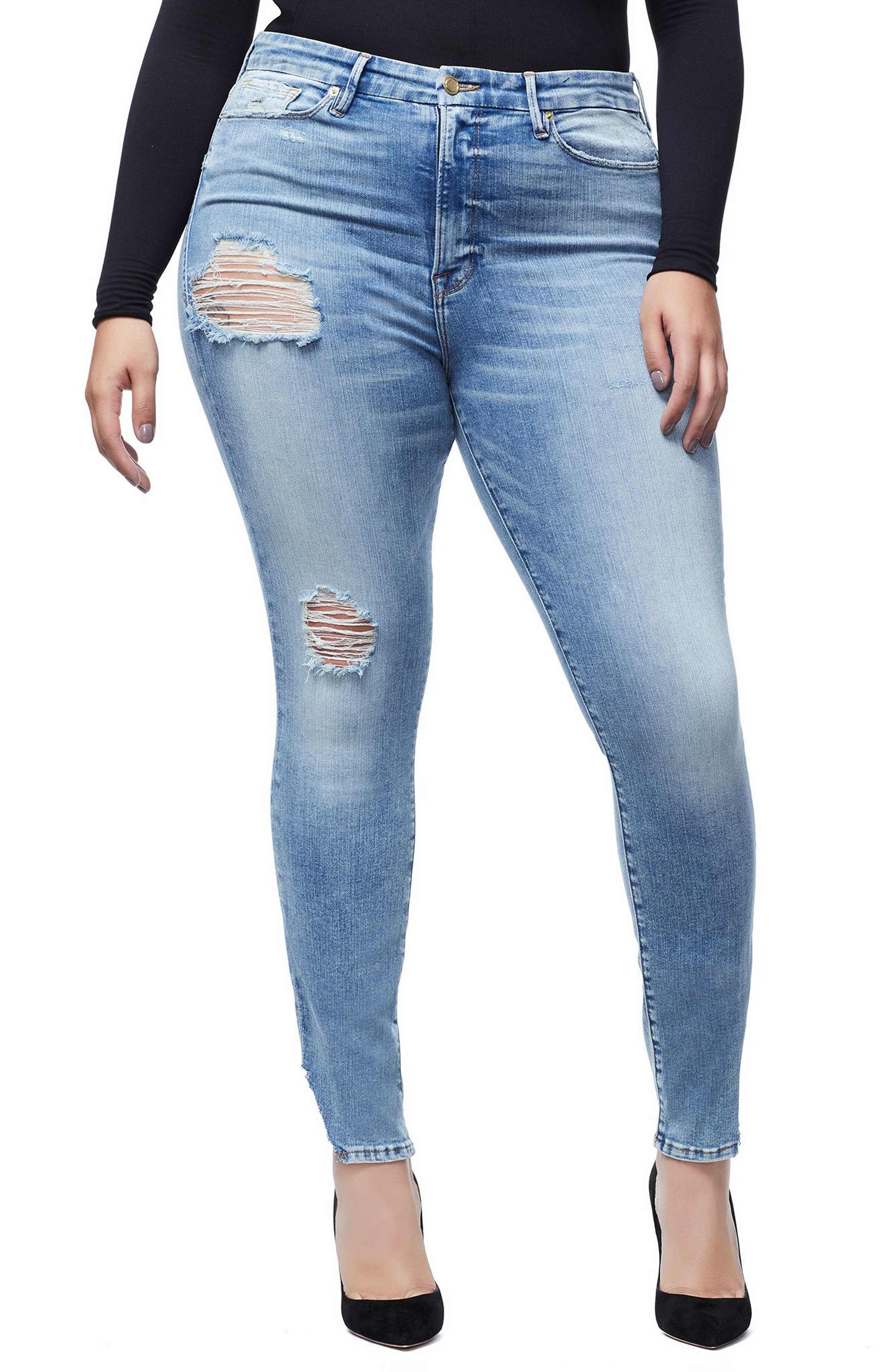 GOOD AMERICAN, Good Waist Side Triangle Crop Skinny Jeans, Alternate thumbnail 2, color, BLUE 160