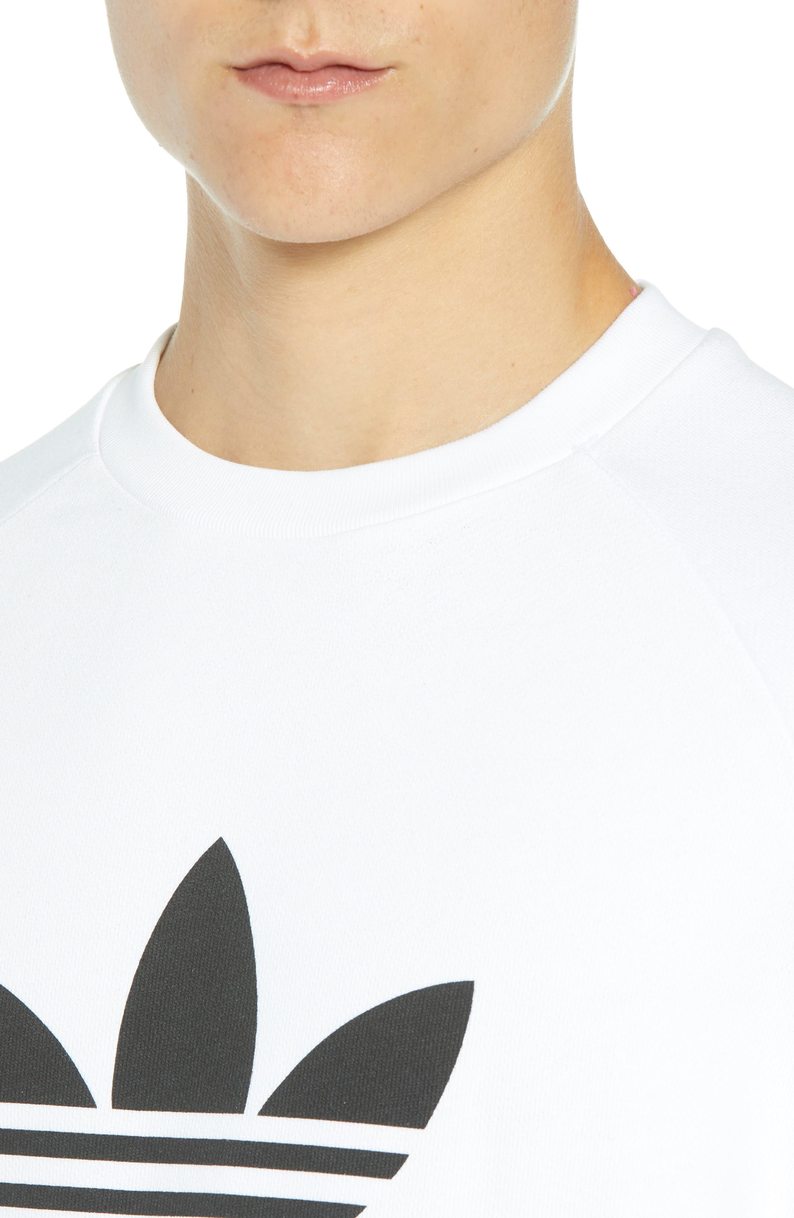 ADIDAS ORIGINALS, Trefoil Sweatshirt, Alternate thumbnail 4, color, WHITE