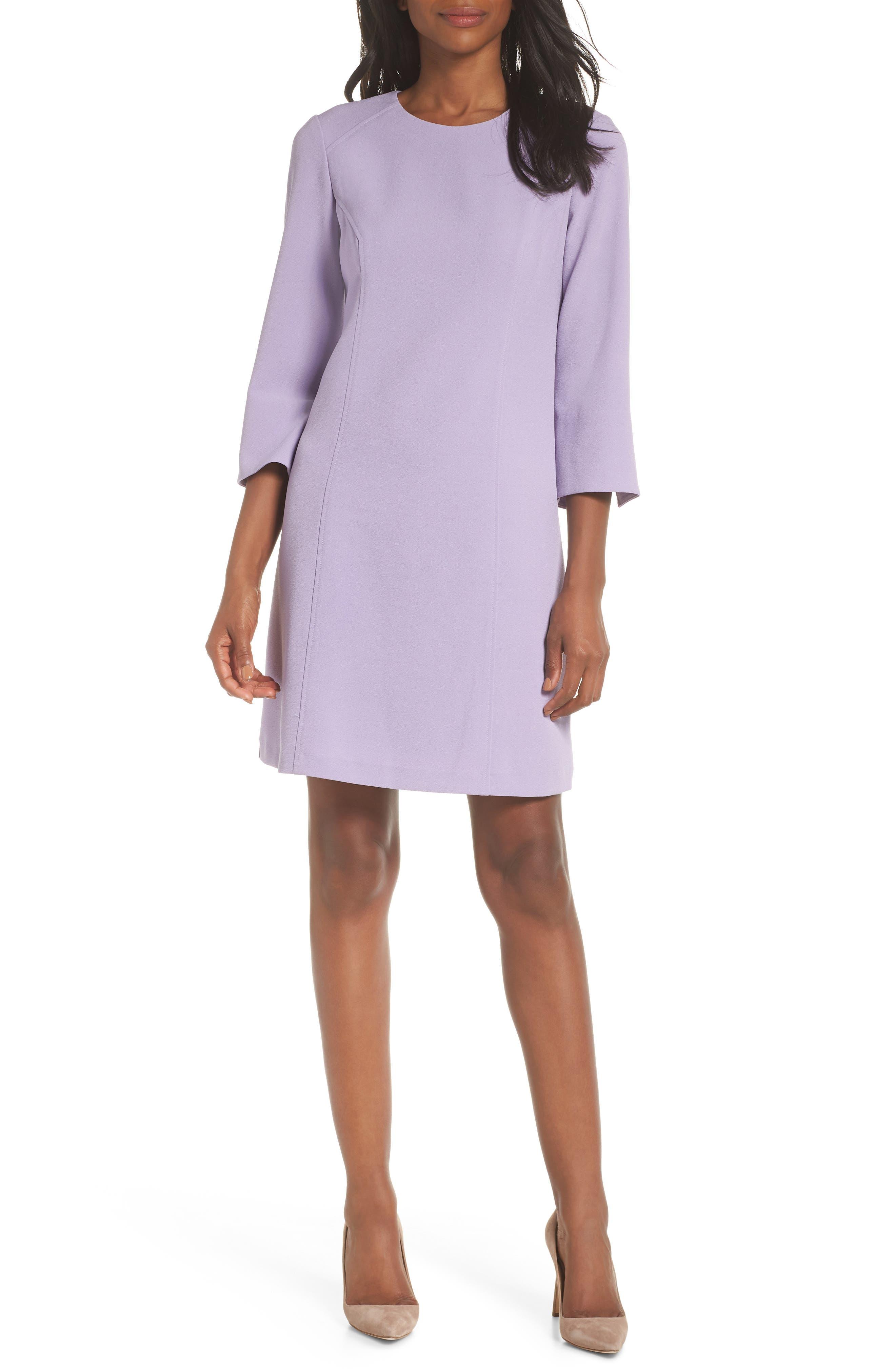 VINCE CAMUTO Kors Crepe Shift Dress, Main, color, LILAC