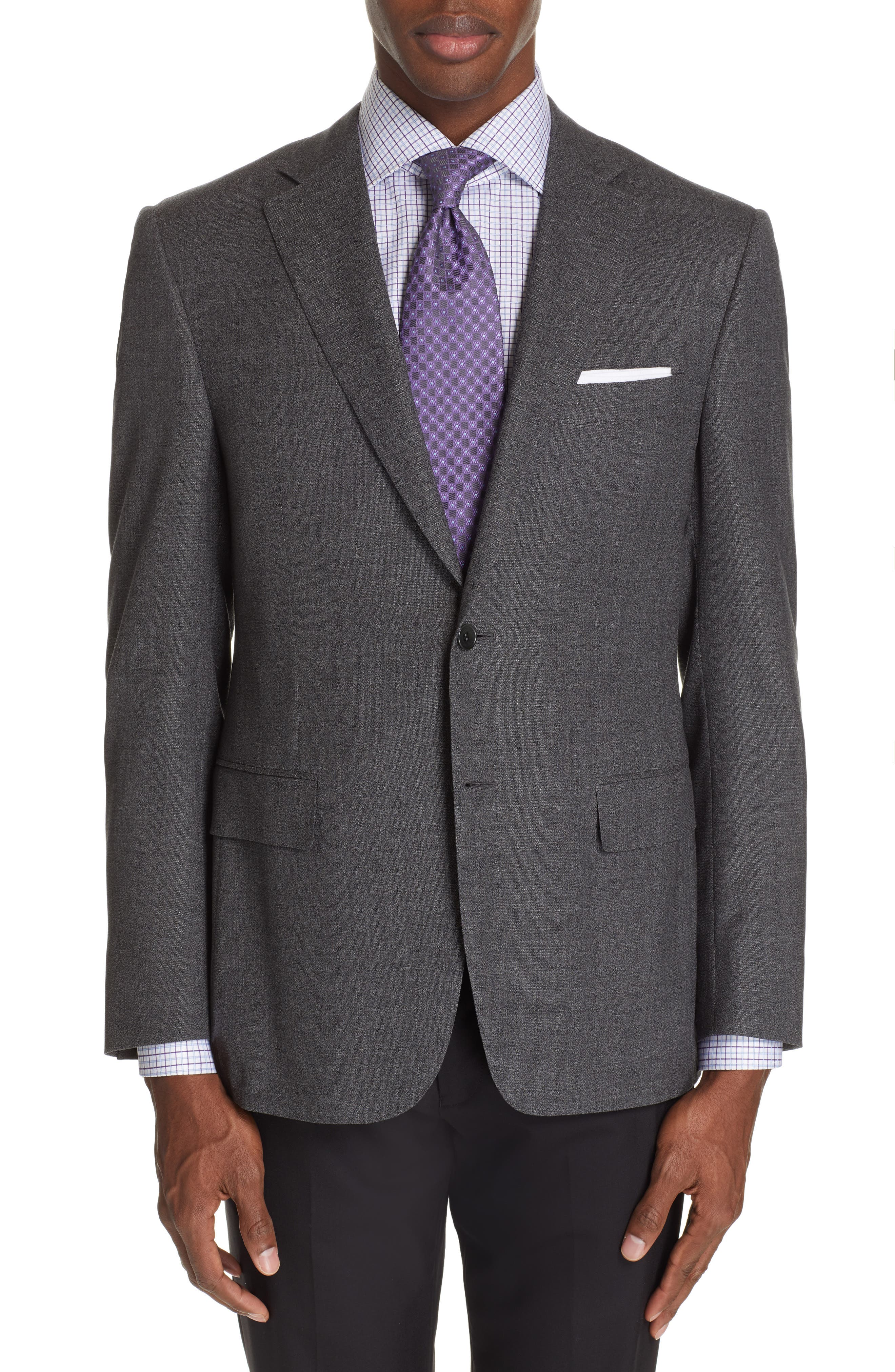 CANALI, Sienna Classic Fit Solid Wool Sport Coat, Main thumbnail 1, color, CHARCOAL