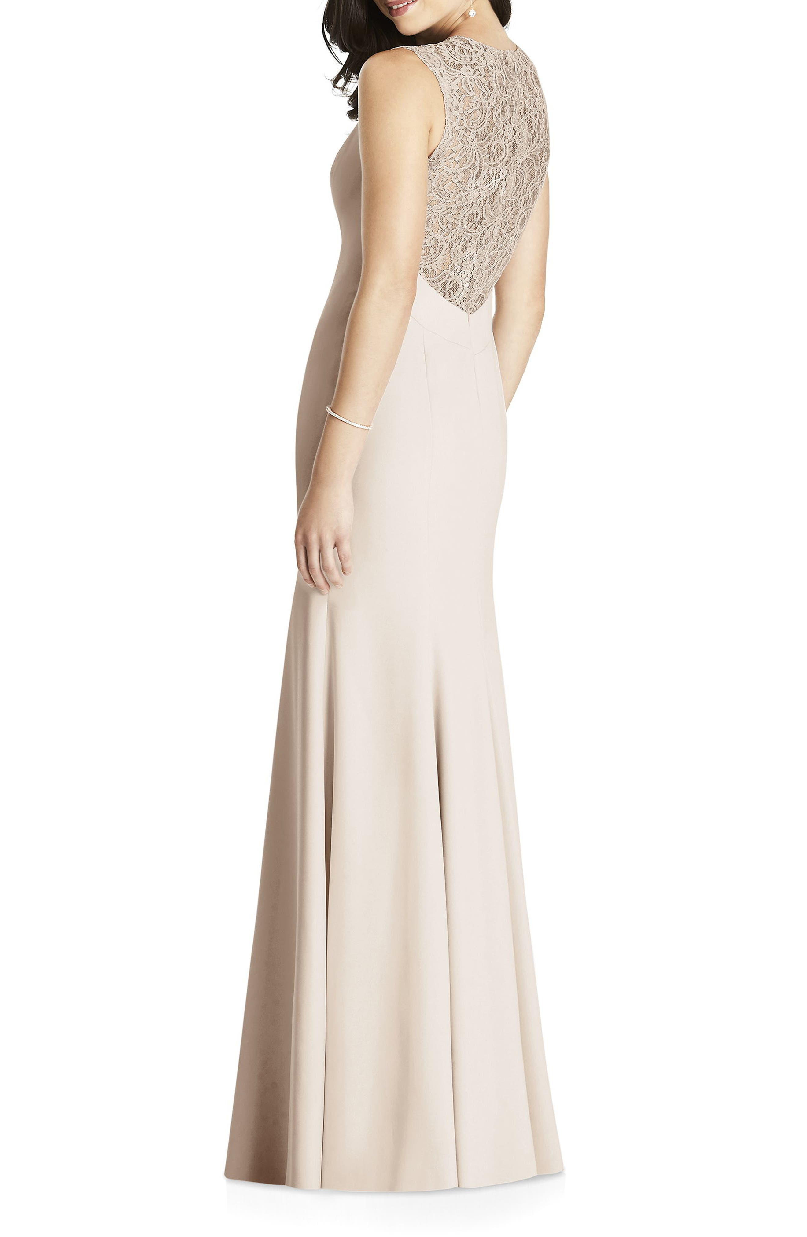 DESSY COLLECTION, Lace Back Crepe Gown, Alternate thumbnail 2, color, CAMEO