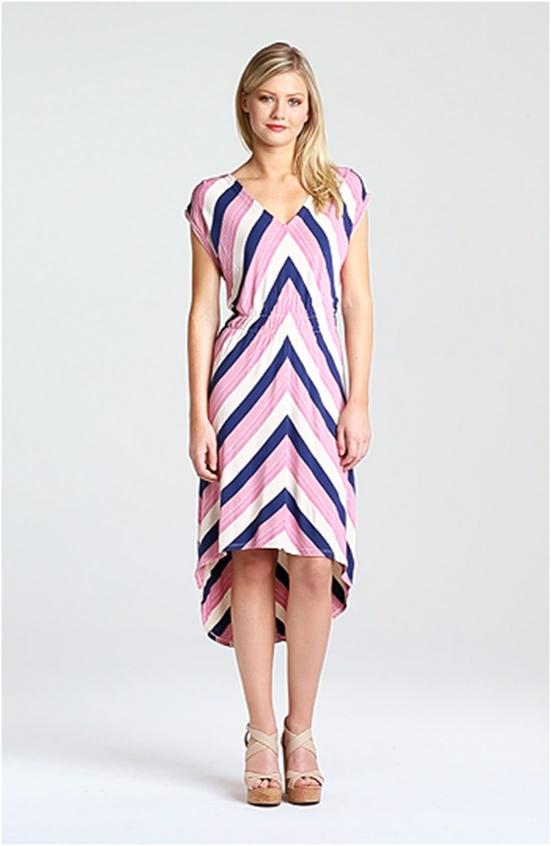 FELICITY & COCO, Stripe High/Low Midi Dress, Alternate thumbnail 4, color, 650