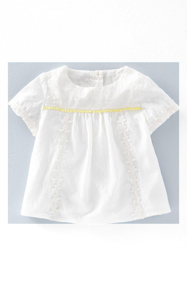 8f99665d5 Mini Boden 'Broderie Detail' Print Woven Top (Toddler Girls, Little ...