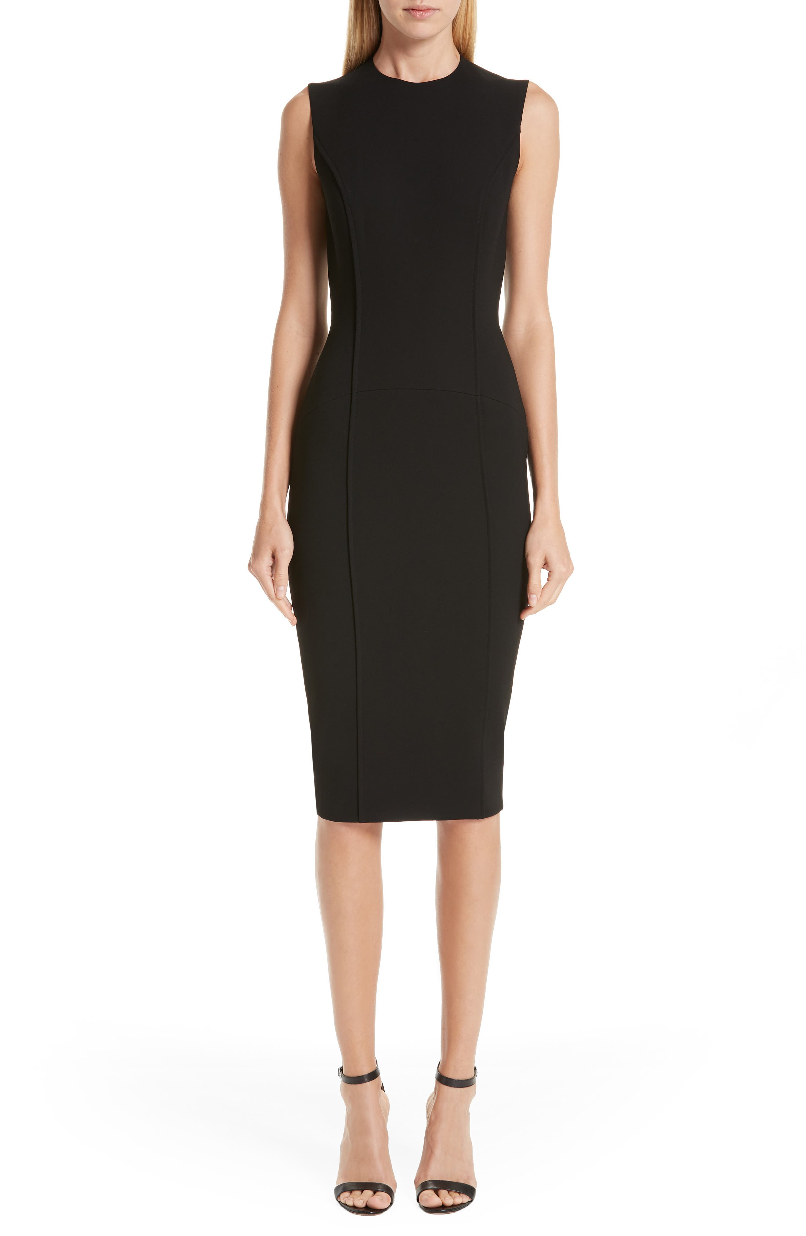 VICTORIA BECKHAM, Back Zip Body-Con Dress, Main thumbnail 1, color, BLACK