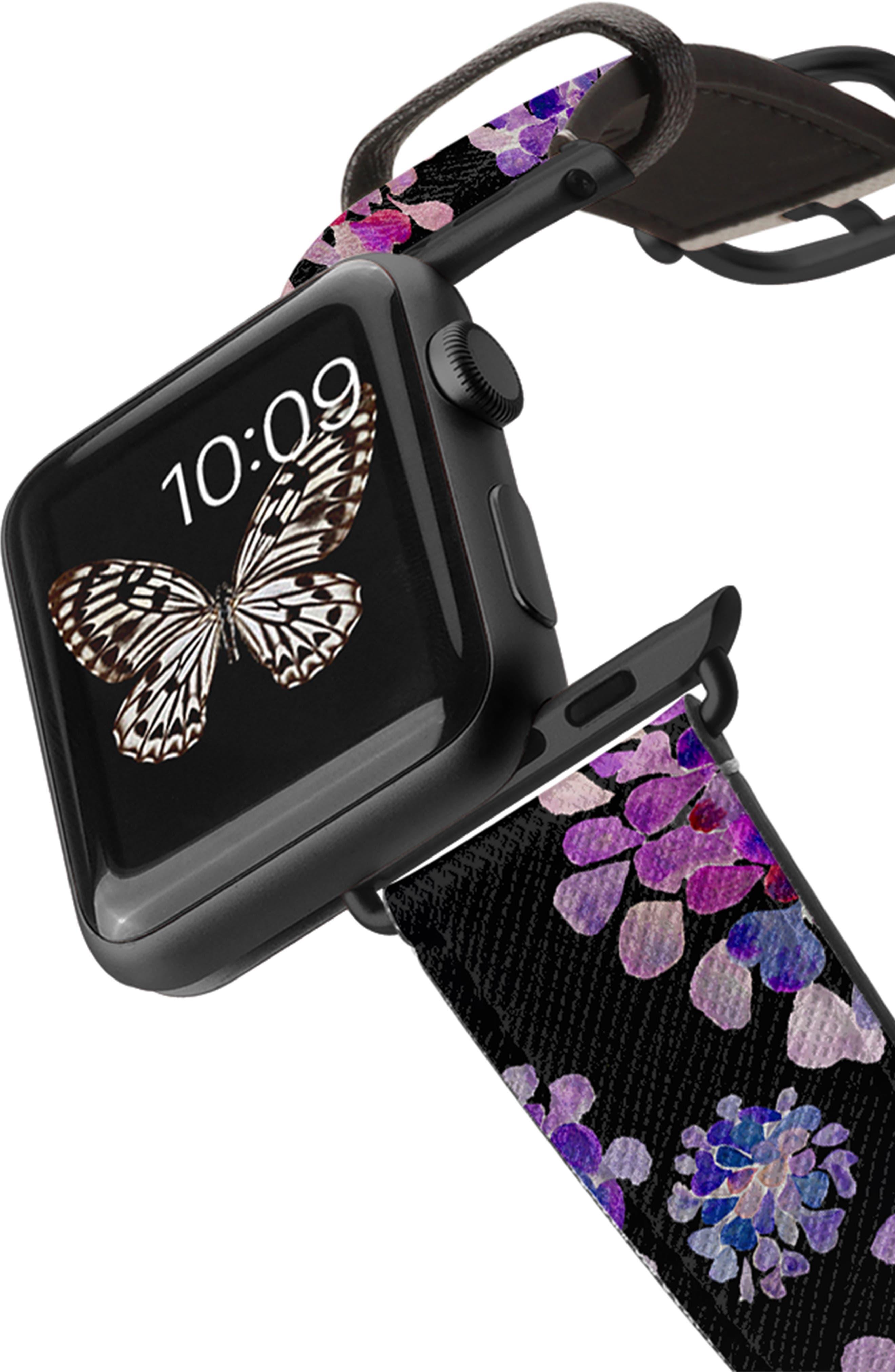 CASETIFY, Saffiano Purple Flowers Faux Leather Apple Watch Strap, Alternate thumbnail 2, color, BLACK