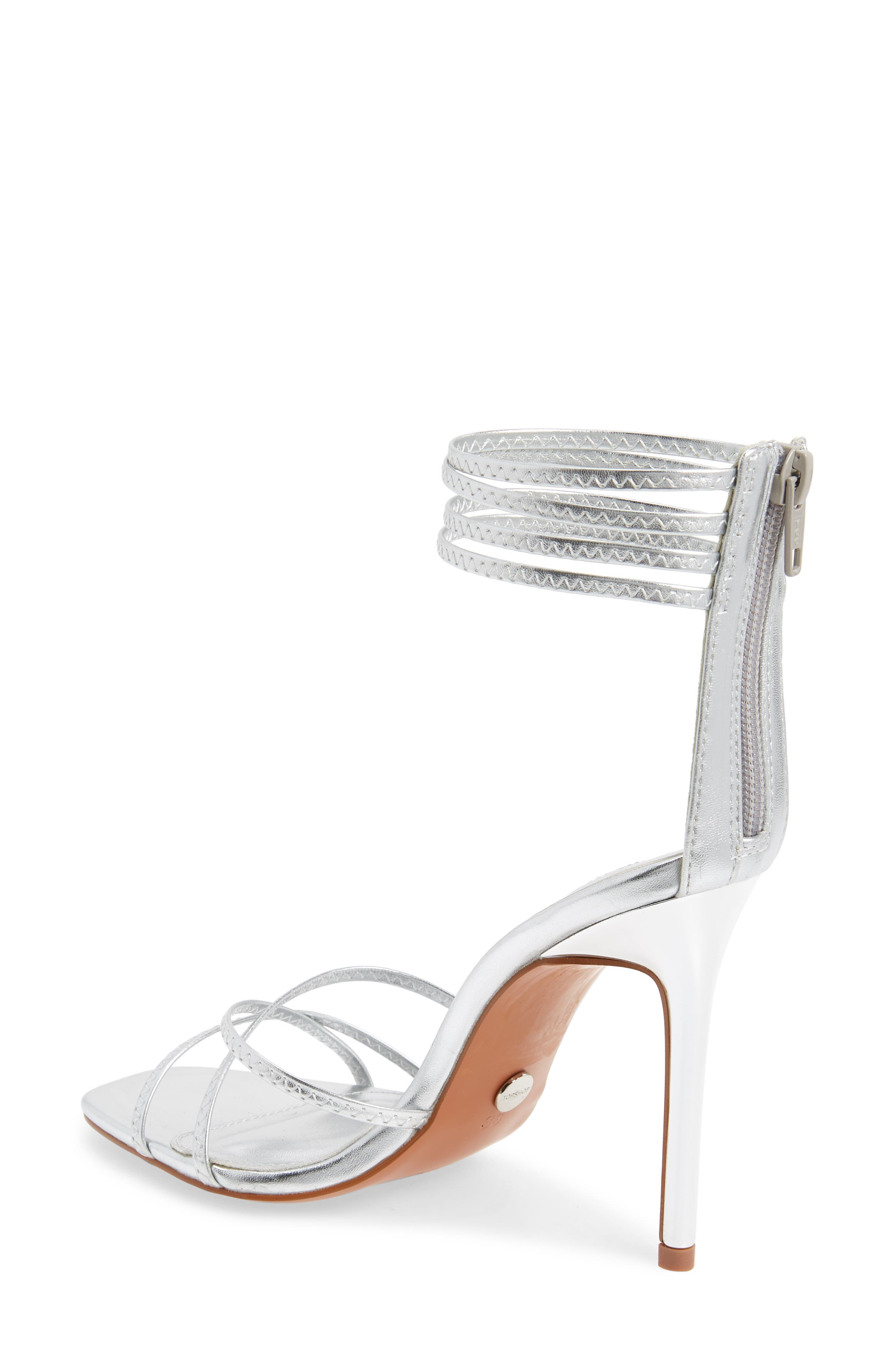 TOPSHOP, Rich Tall Strappy Sandal, Alternate thumbnail 2, color, SILVER