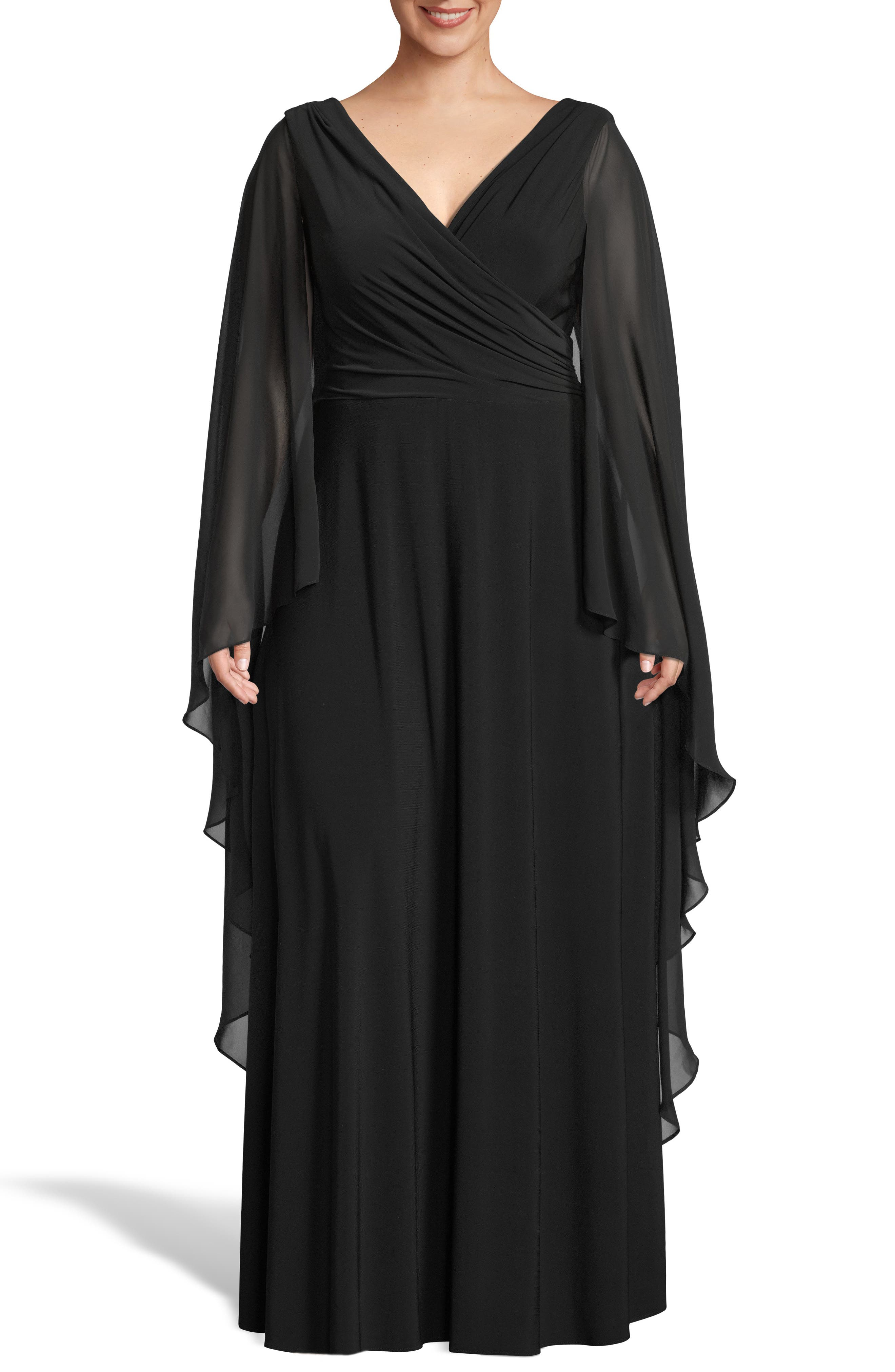 Plus Size Xscape Side Ruched Long Sleeve Chiffon Gown, Black
