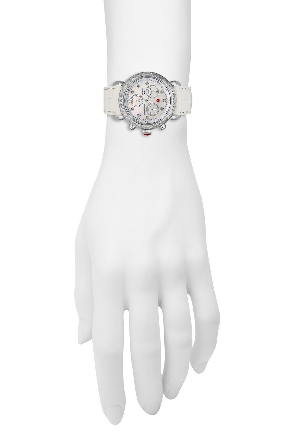 MICHELE, 'CSX-36 Diamond' Diamond Dial Two Tone Watch Case, 36mm, Alternate thumbnail 4, color, 040