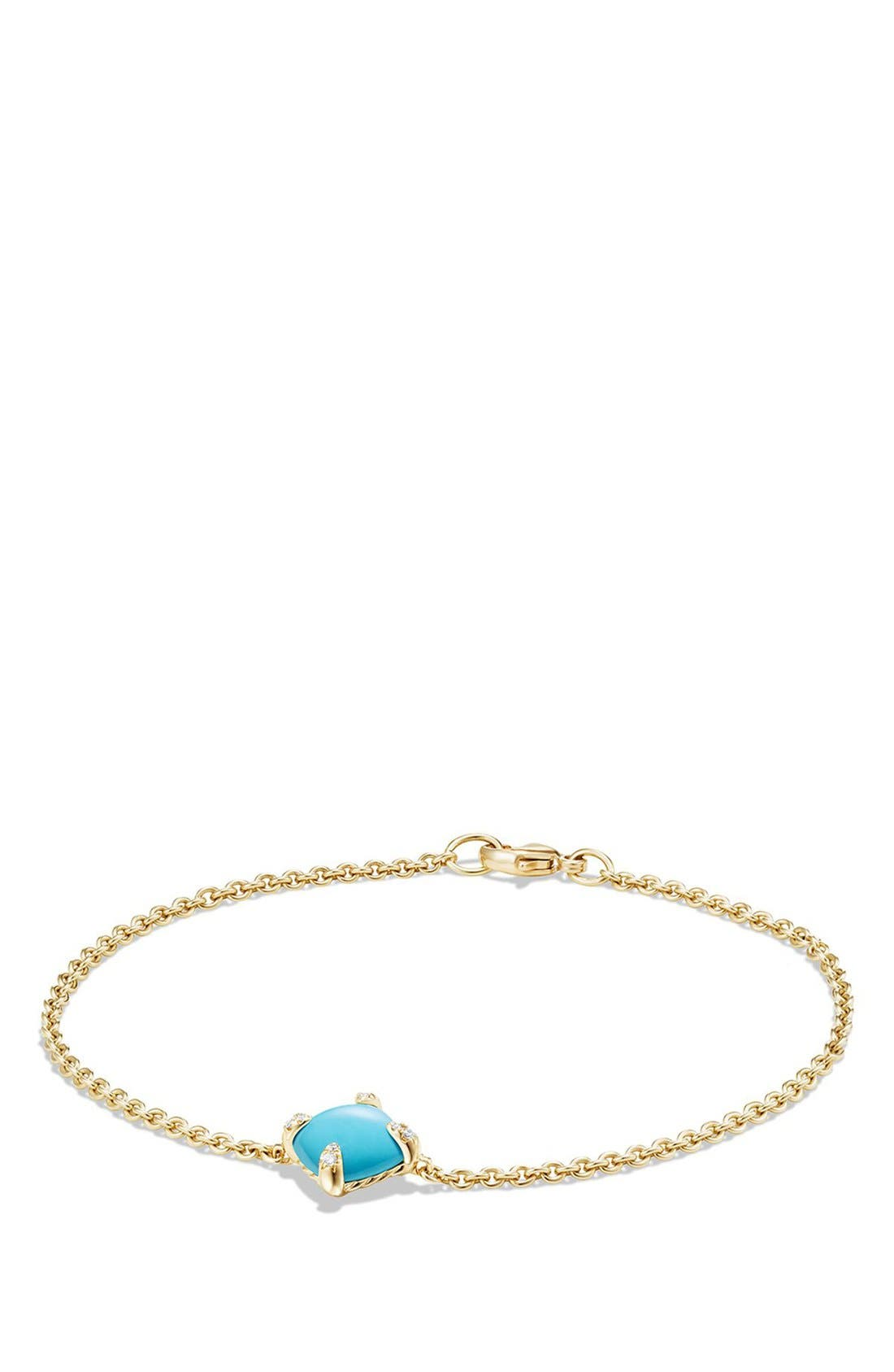DAVID YURMAN, 'Châtelaine' Bracelet with Diamonds in 18K Gold, Main thumbnail 1, color, TURQUOISE