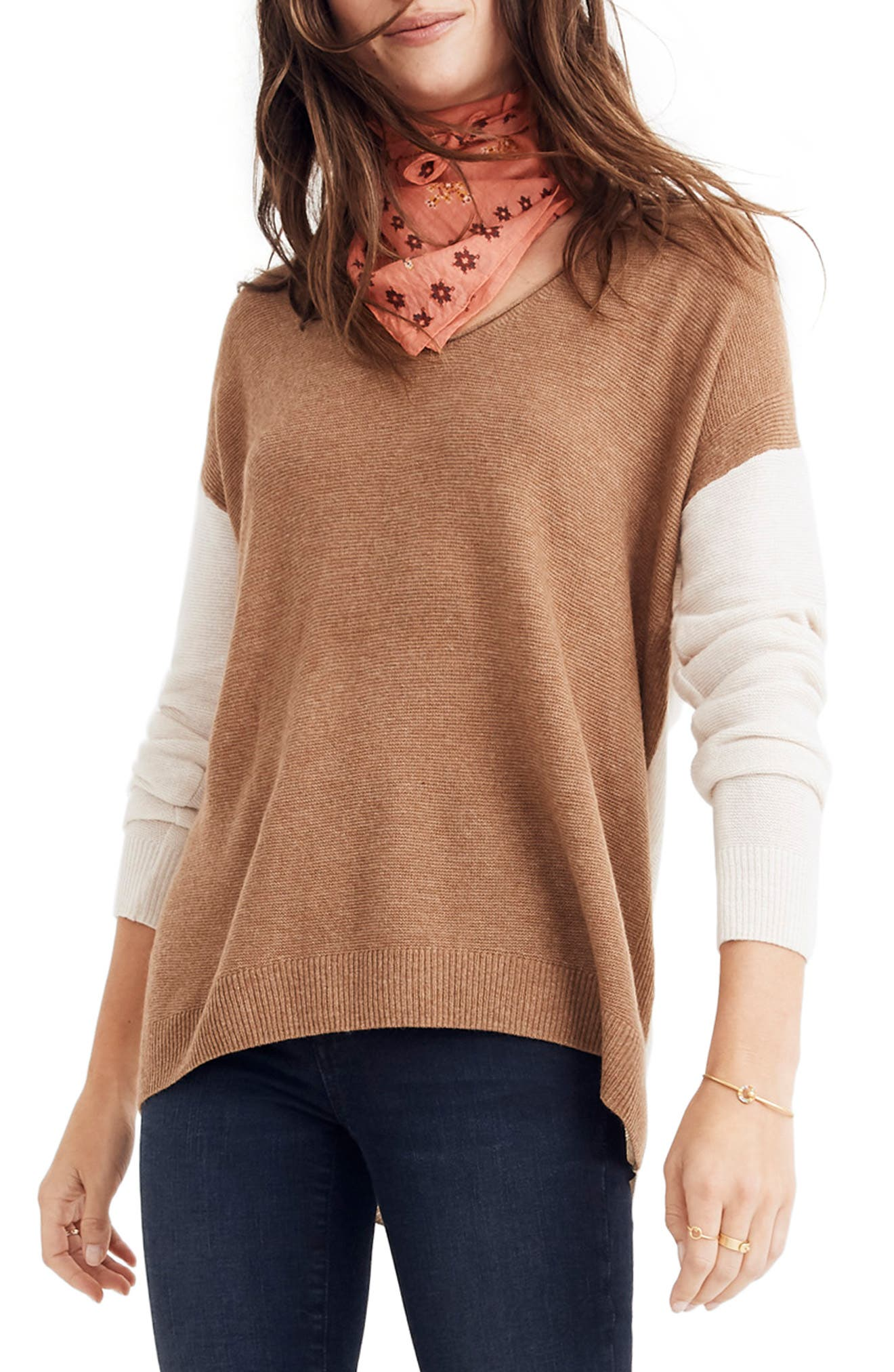 MADEWELL Kimball Colorblock Sweater, Main, color, 021