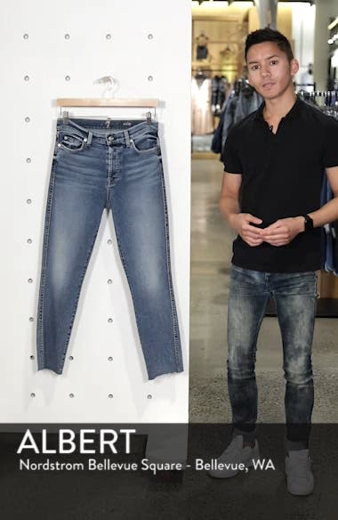 Luxe Vintage Edie Cutoff Hem Straight Leg Jeans, sales video thumbnail