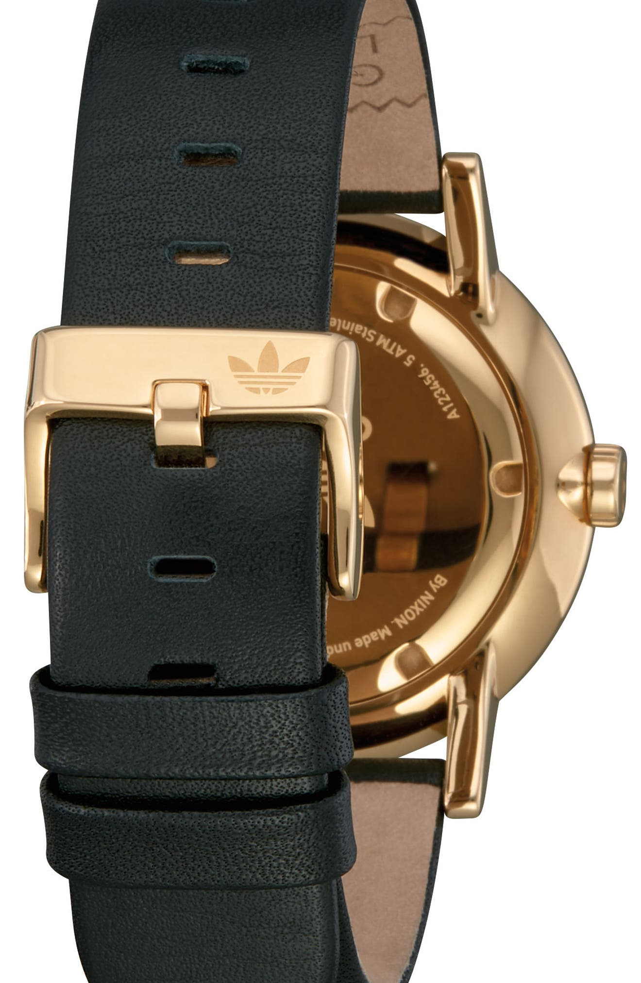 ADIDAS, District Leather Strap Watch, 40mm, Alternate thumbnail 2, color, GOLD/ BLACK