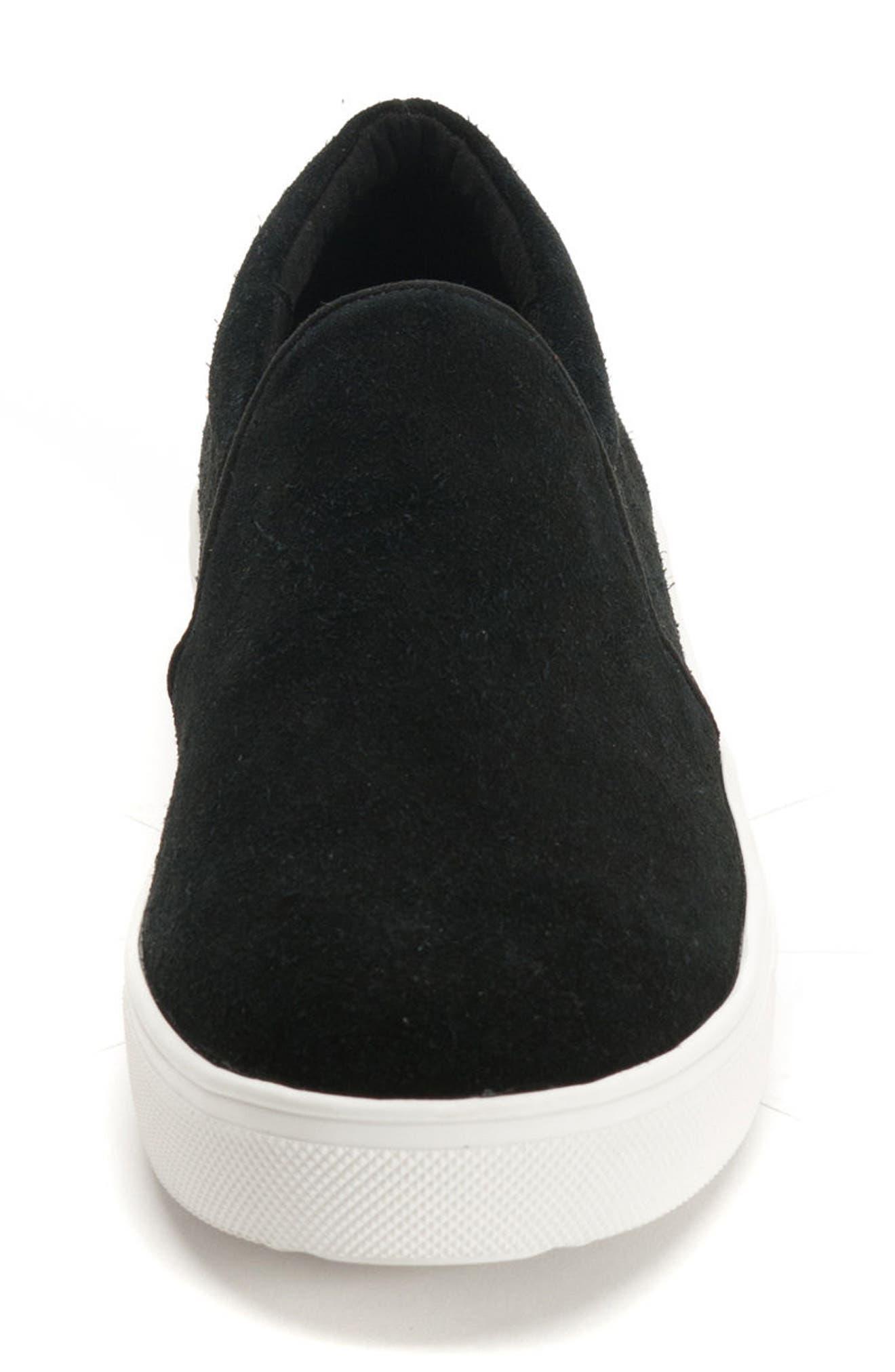 BLONDO, Gracie Waterproof Slip-On Sneaker, Alternate thumbnail 4, color, BLACK SUEDE