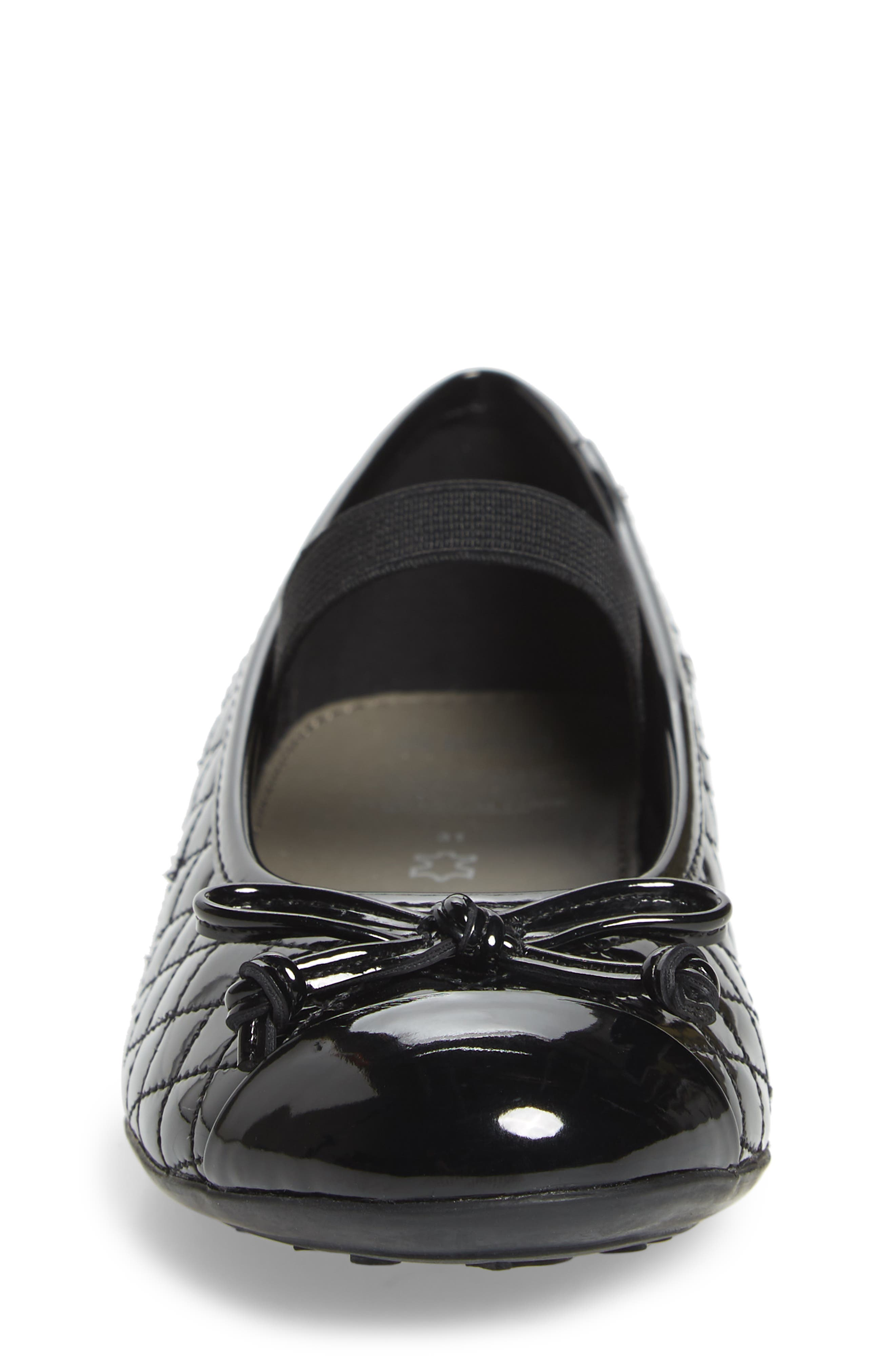 GEOX, 'Plie' Mary Jane Flat, Alternate thumbnail 4, color, BLACK/ BLACK