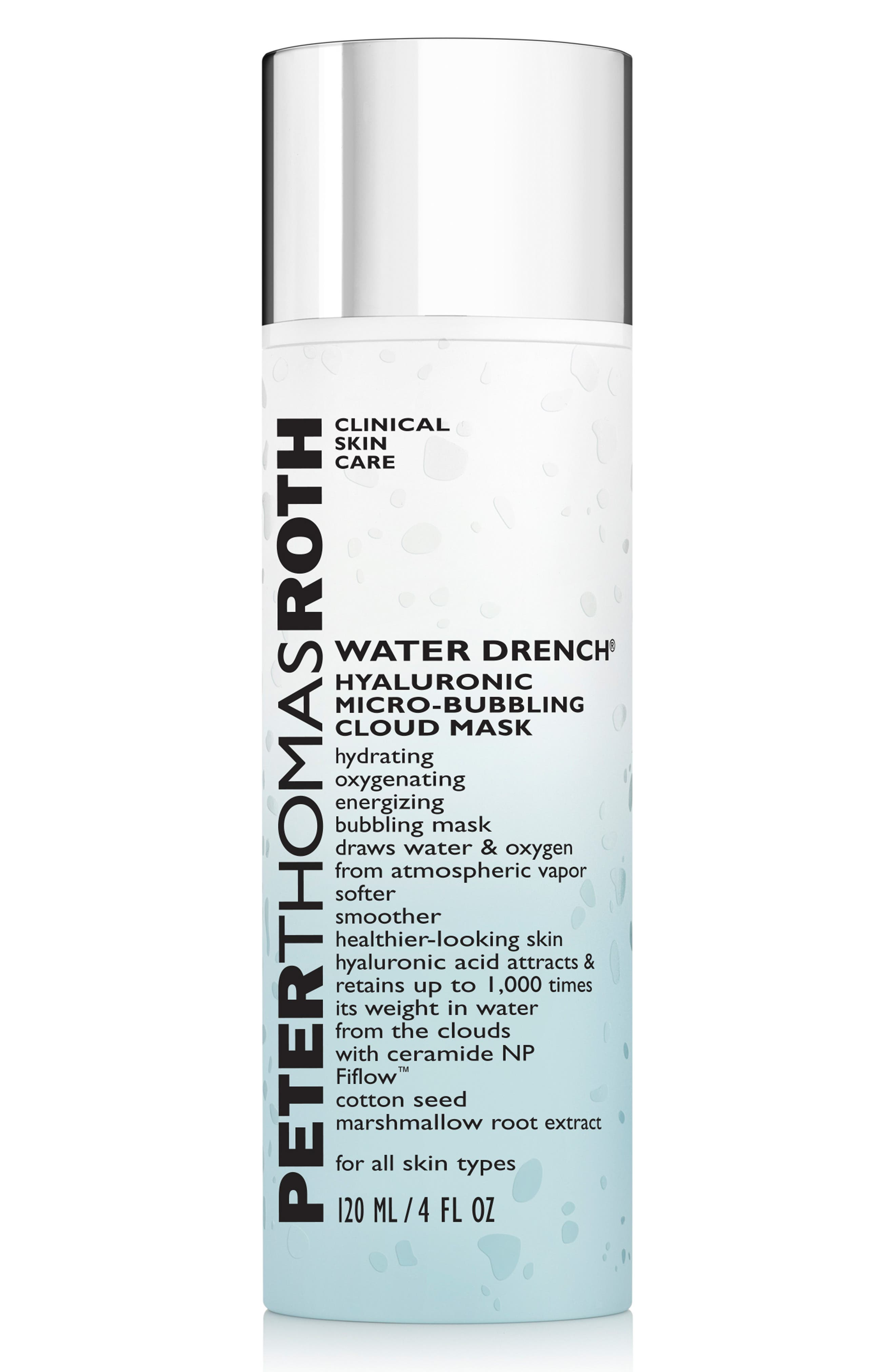PETER THOMAS ROTH, Water Drench Hyaluronic Micro-Bubbling Cloud Mask, Main thumbnail 1, color, NO COLOR