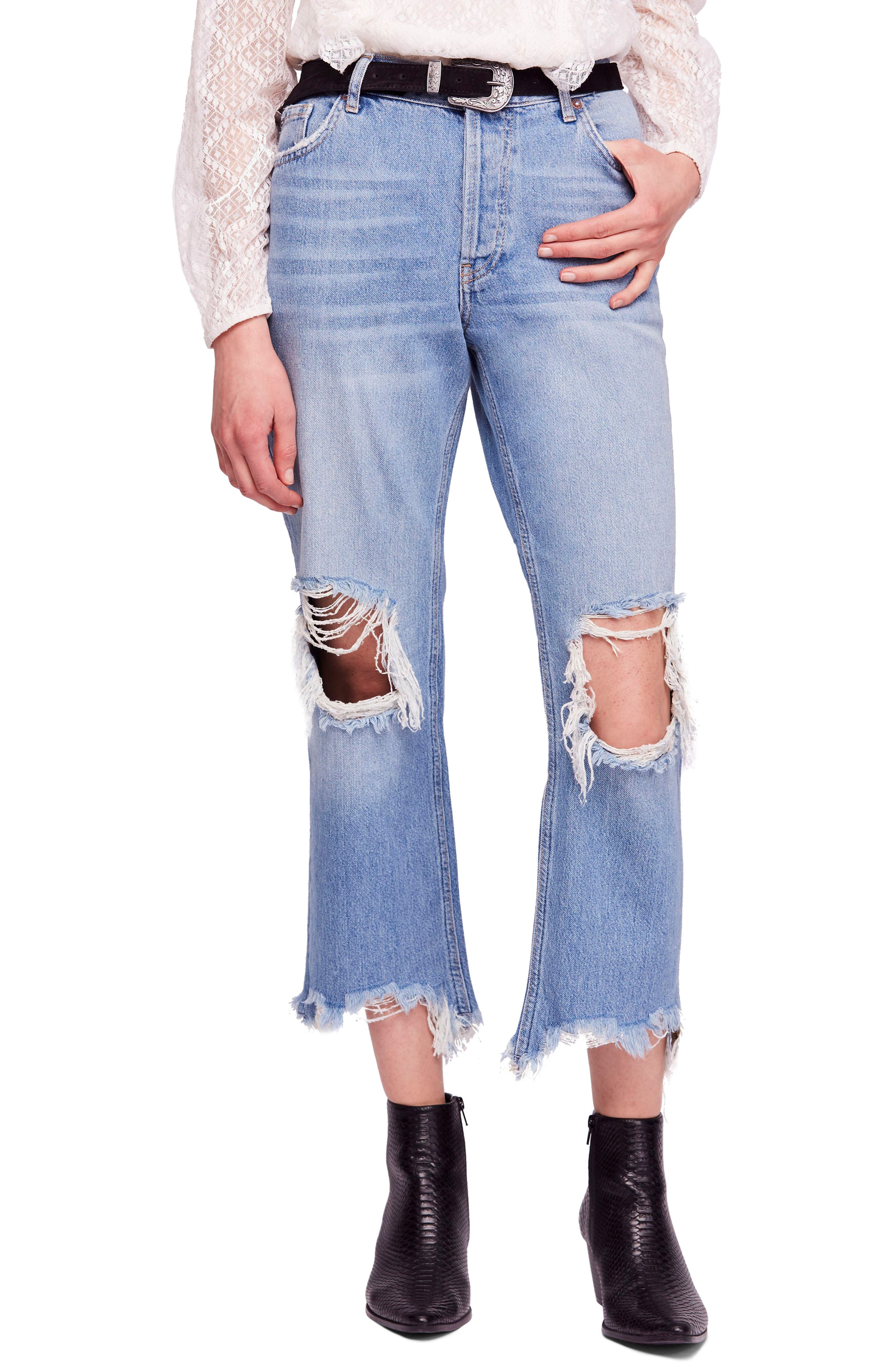 FREE PEOPLE, We the Free by Free People Maggie Ripped Crop Straight Leg Jeans, Main thumbnail 1, color, 456