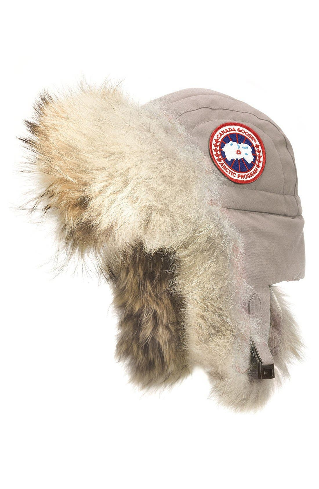 CANADA GOOSE, Aviator Hat with Genuine Coyote Fur Trim, Main thumbnail 1, color, LIMESTONE