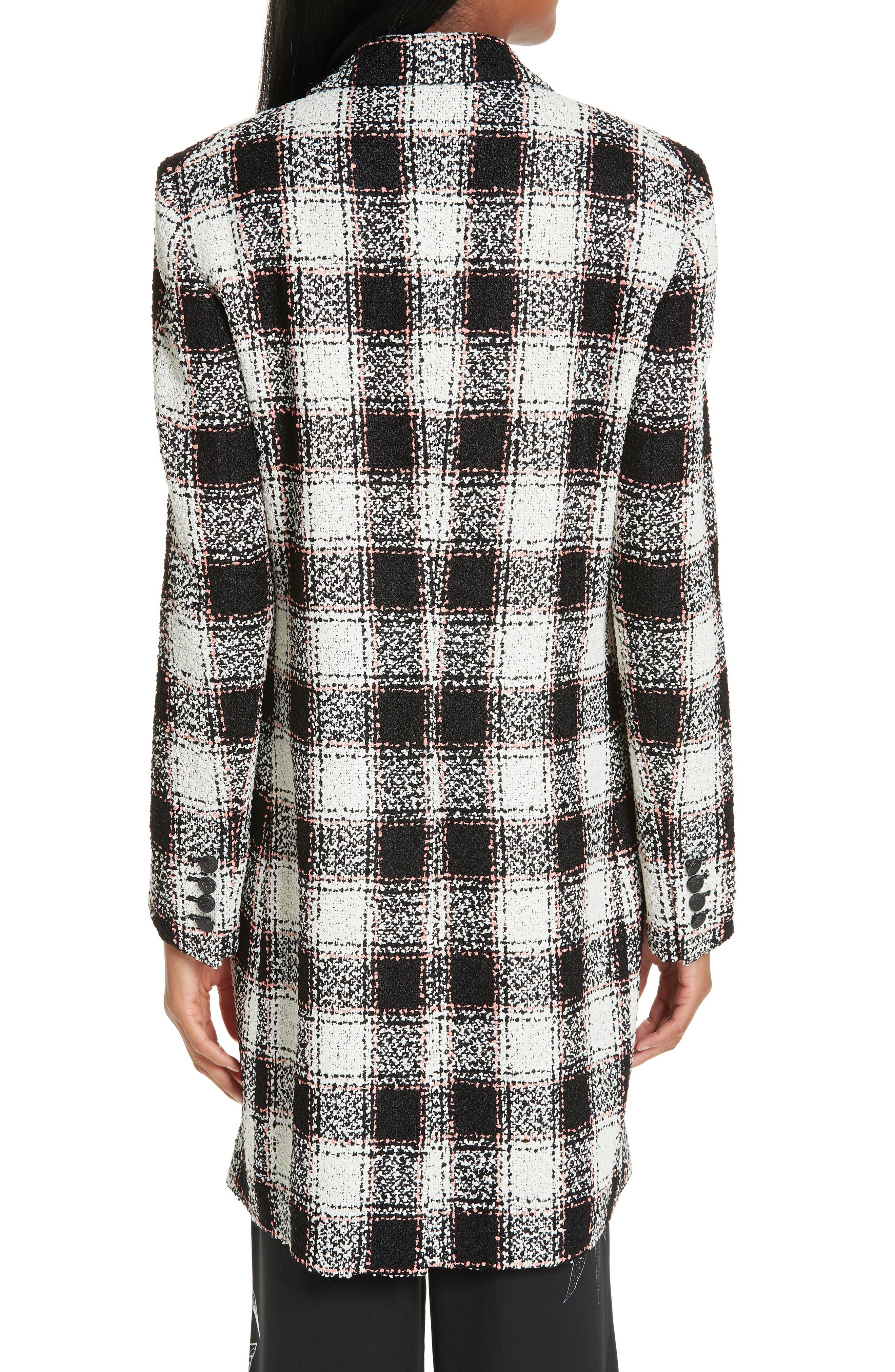 ETRO, Double Breasted Checked Tweed Jacket, Alternate thumbnail 2, color, WHITE
