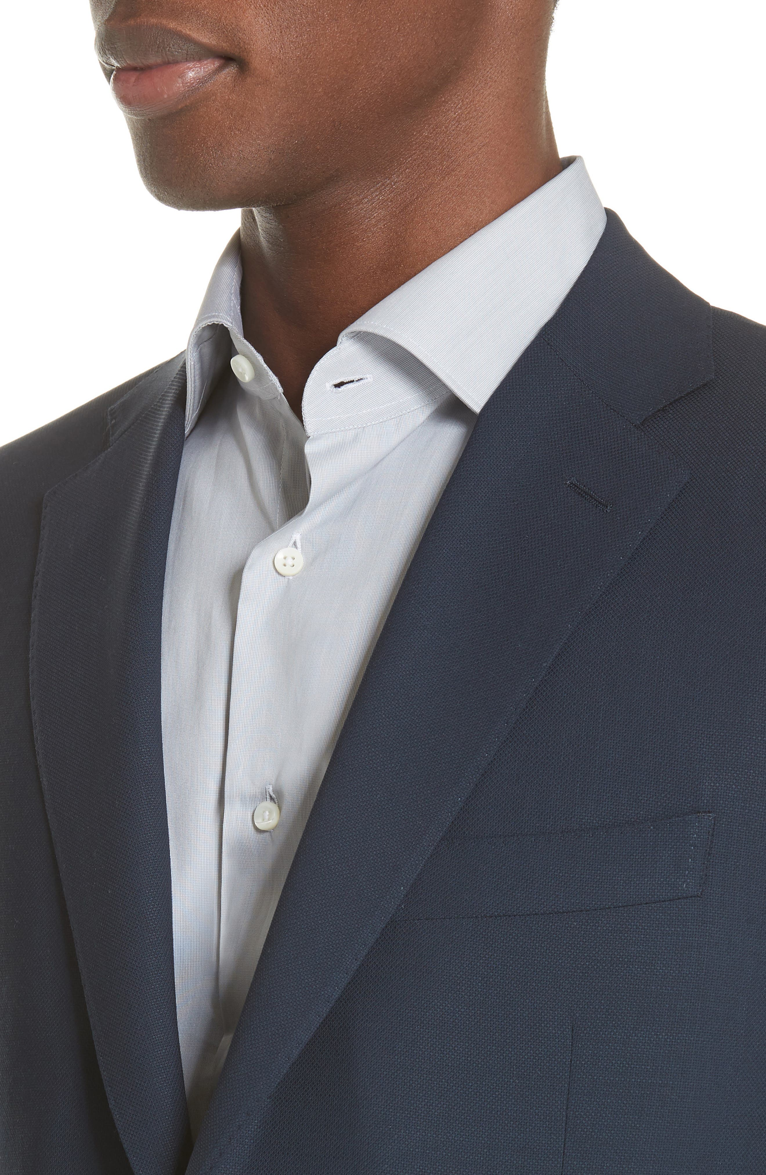 CANALI, Classic Fit Wool Blazer, Alternate thumbnail 4, color, NAVY