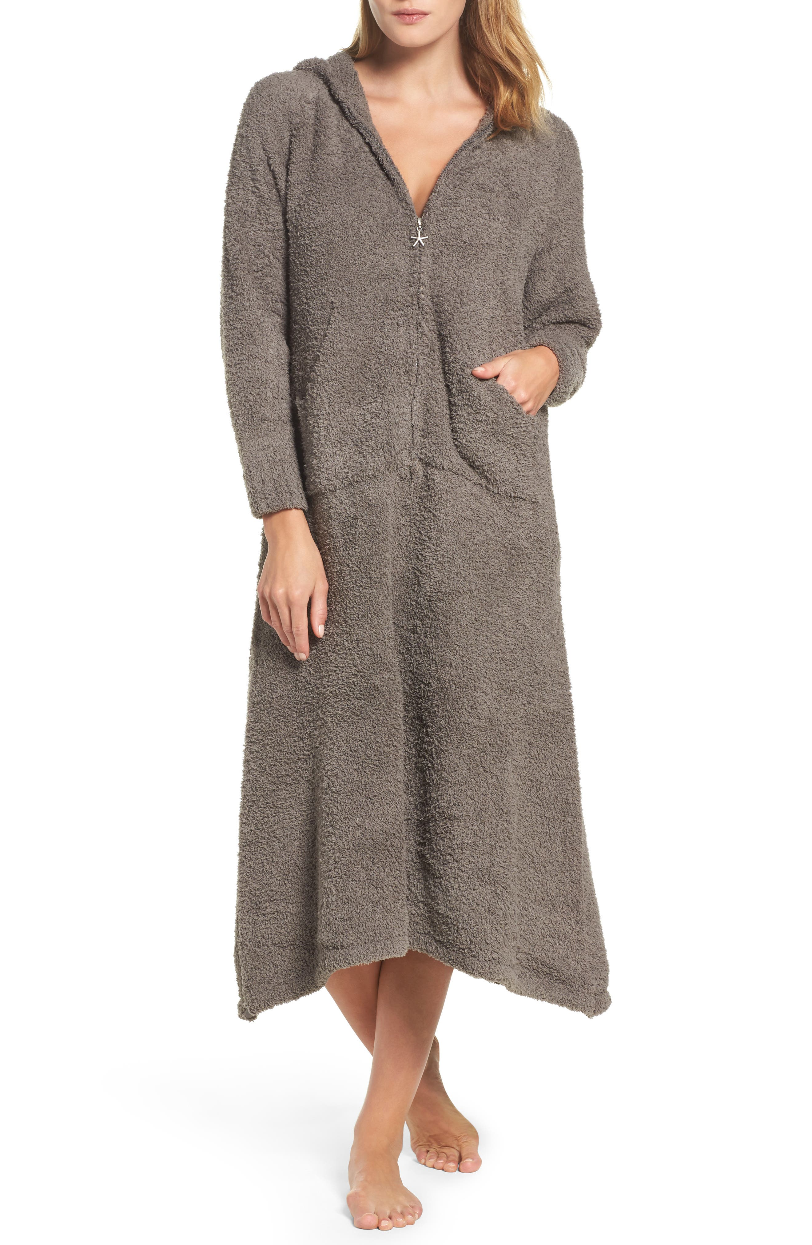 BAREFOOT DREAMS<SUP>®</SUP>, CozyChic<sup>®</sup> Hooded Zip Robe, Main thumbnail 1, color, 020