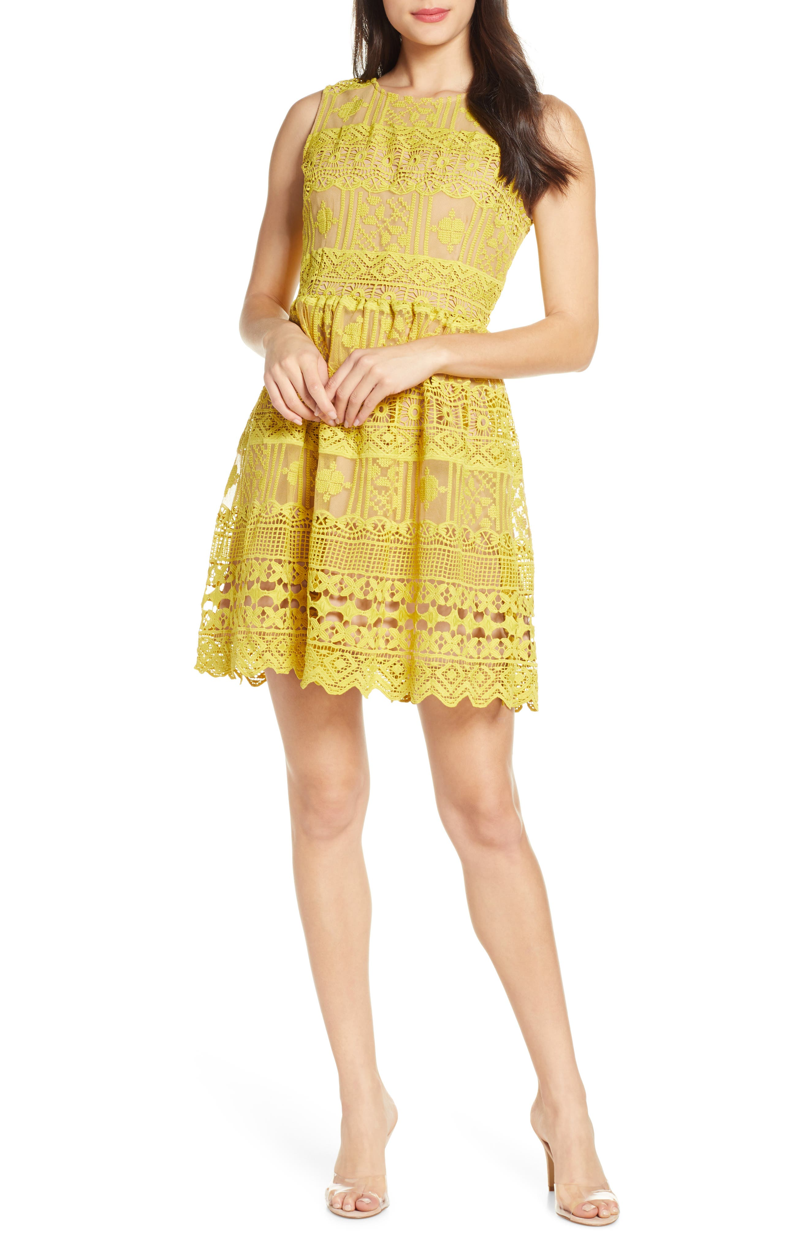 Chelsea28 Lace Fit & Flare Dress, Yellow