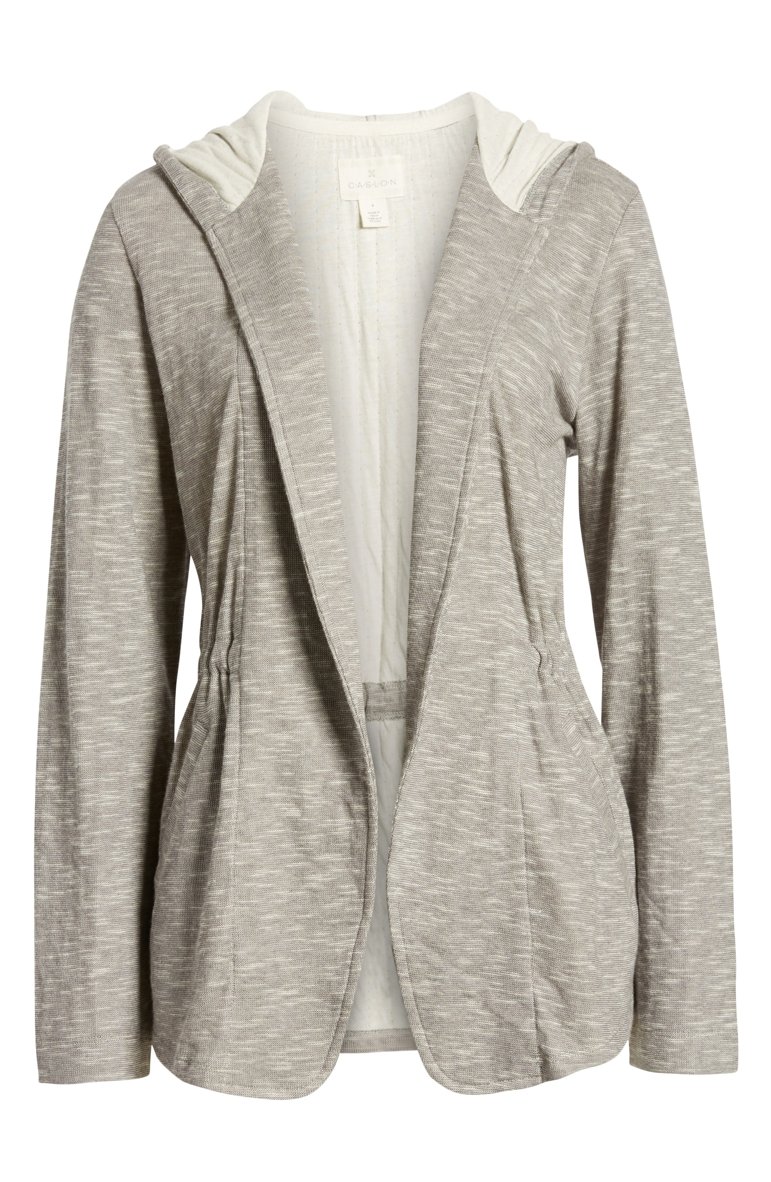 CASLON<SUP>®</SUP>, Open Front Hooded Cardigan, Alternate thumbnail 6, color, GREY- IVORY SPACEDYE