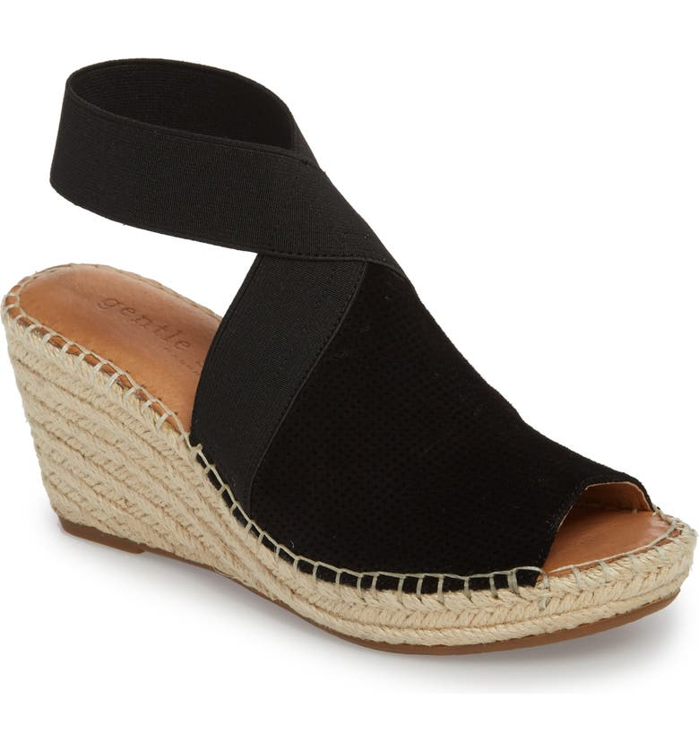 GENTLE SOULS SIGNATURE Colleen Espadrille Wedge, Main, color, BLACK SUEDE
