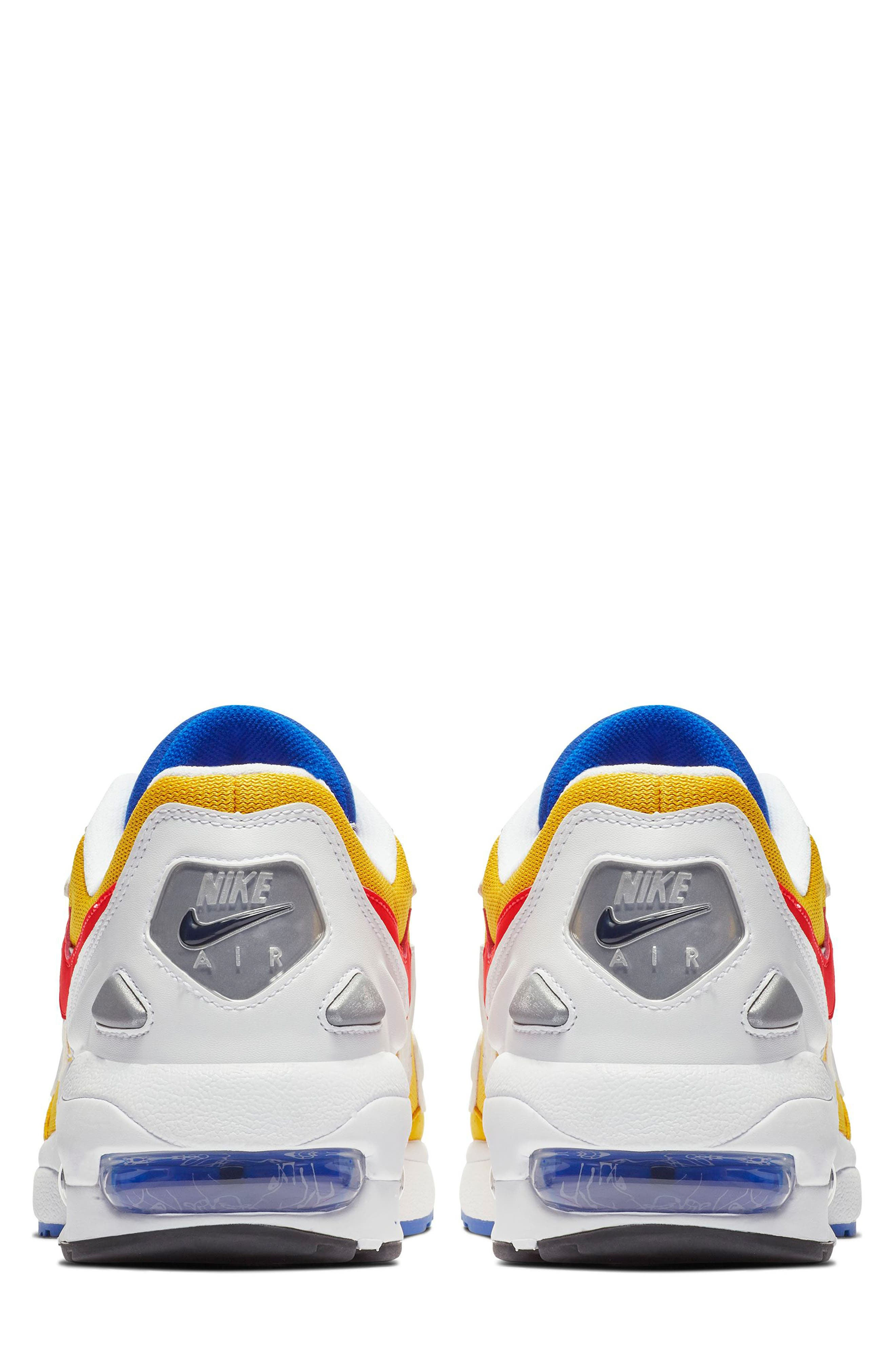 NIKE, Air Max2 Light Sneaker, Alternate thumbnail 2, color, GOLD CRIMSON/ BLUE