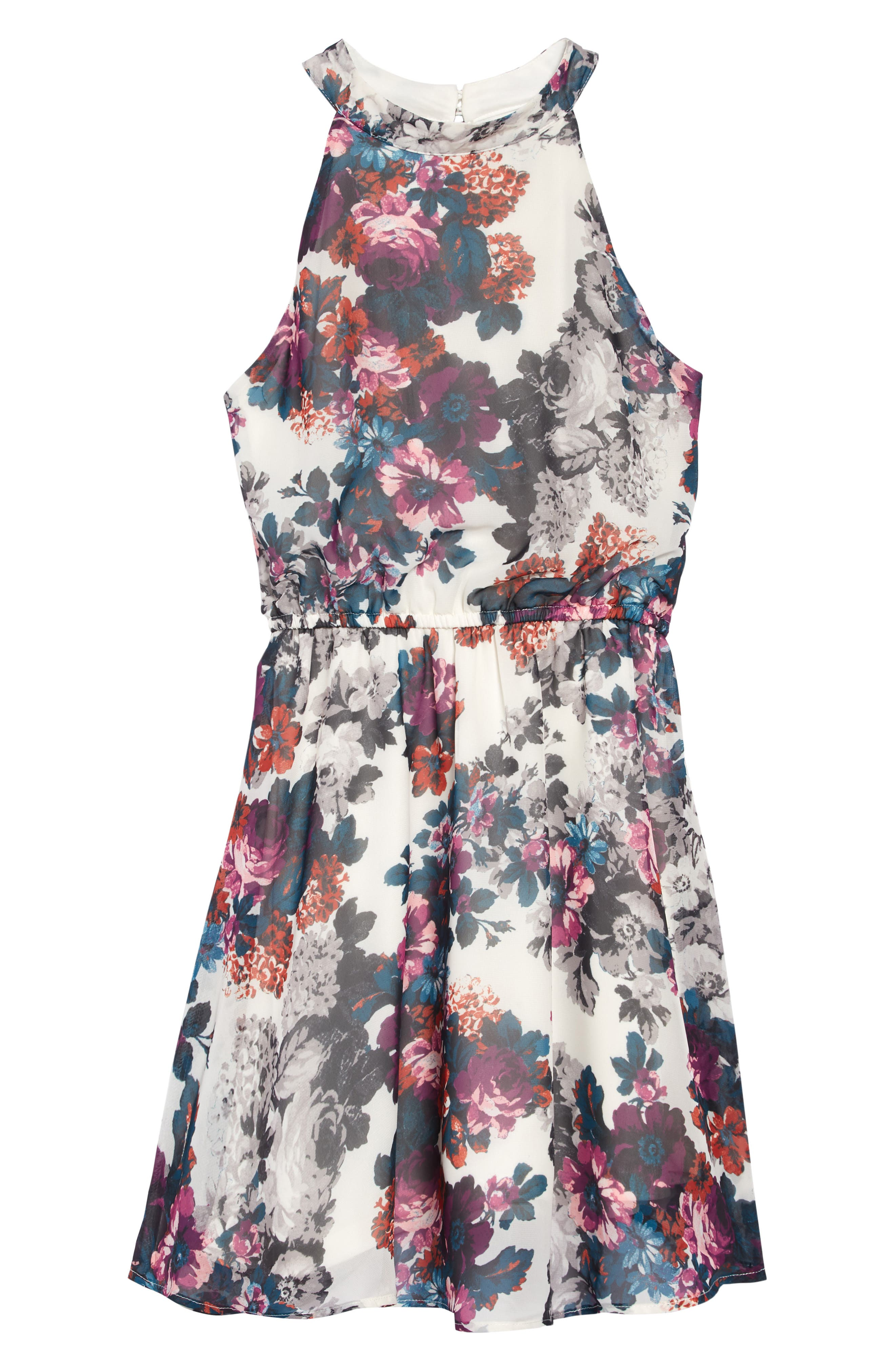 AVA & YELLY, Floral Mock Neck Dress, Main thumbnail 1, color, LILAC FLORAL