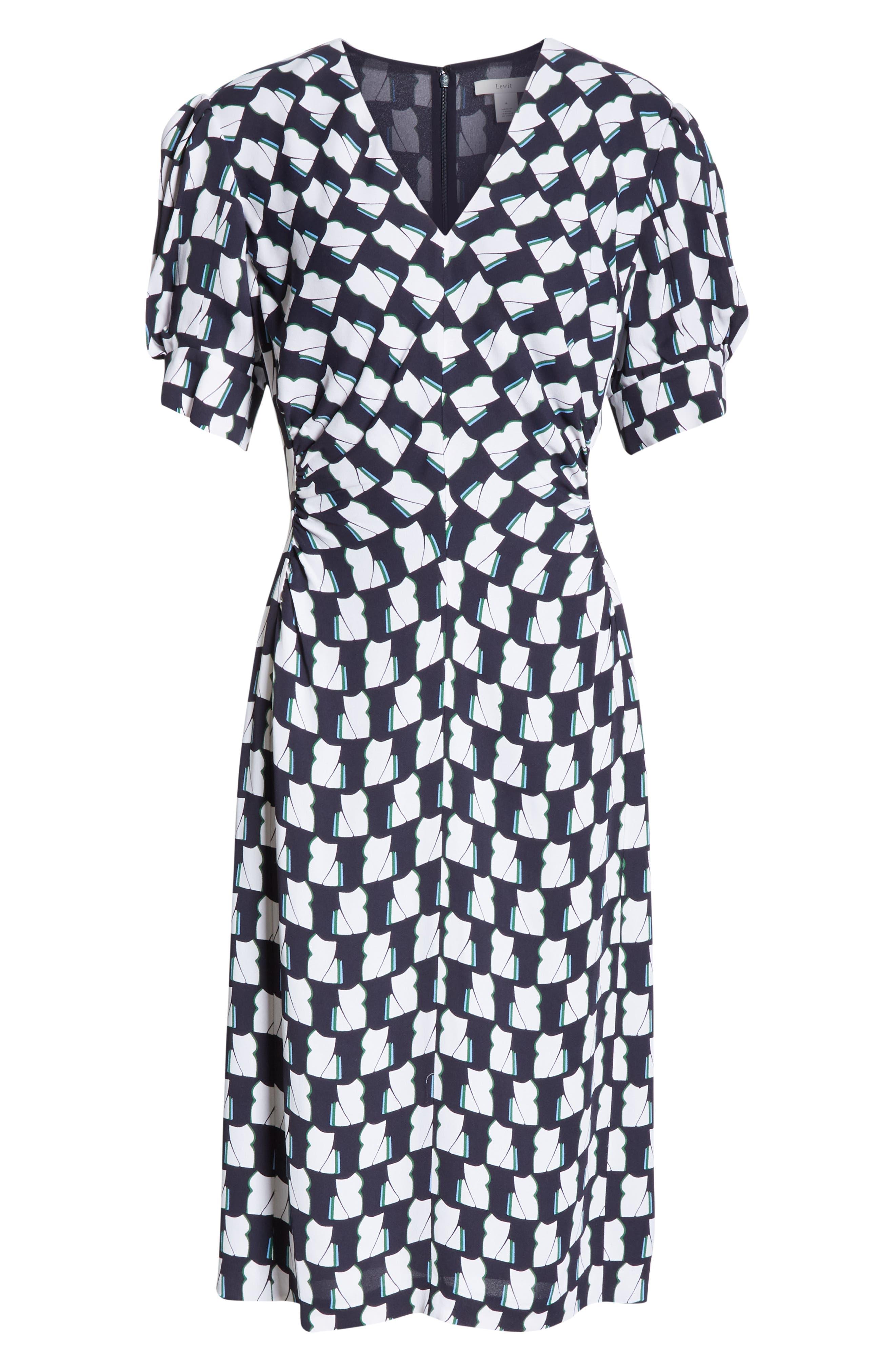 LEWIT, V-Neck Print Crepe Dress, Alternate thumbnail 7, color, 410