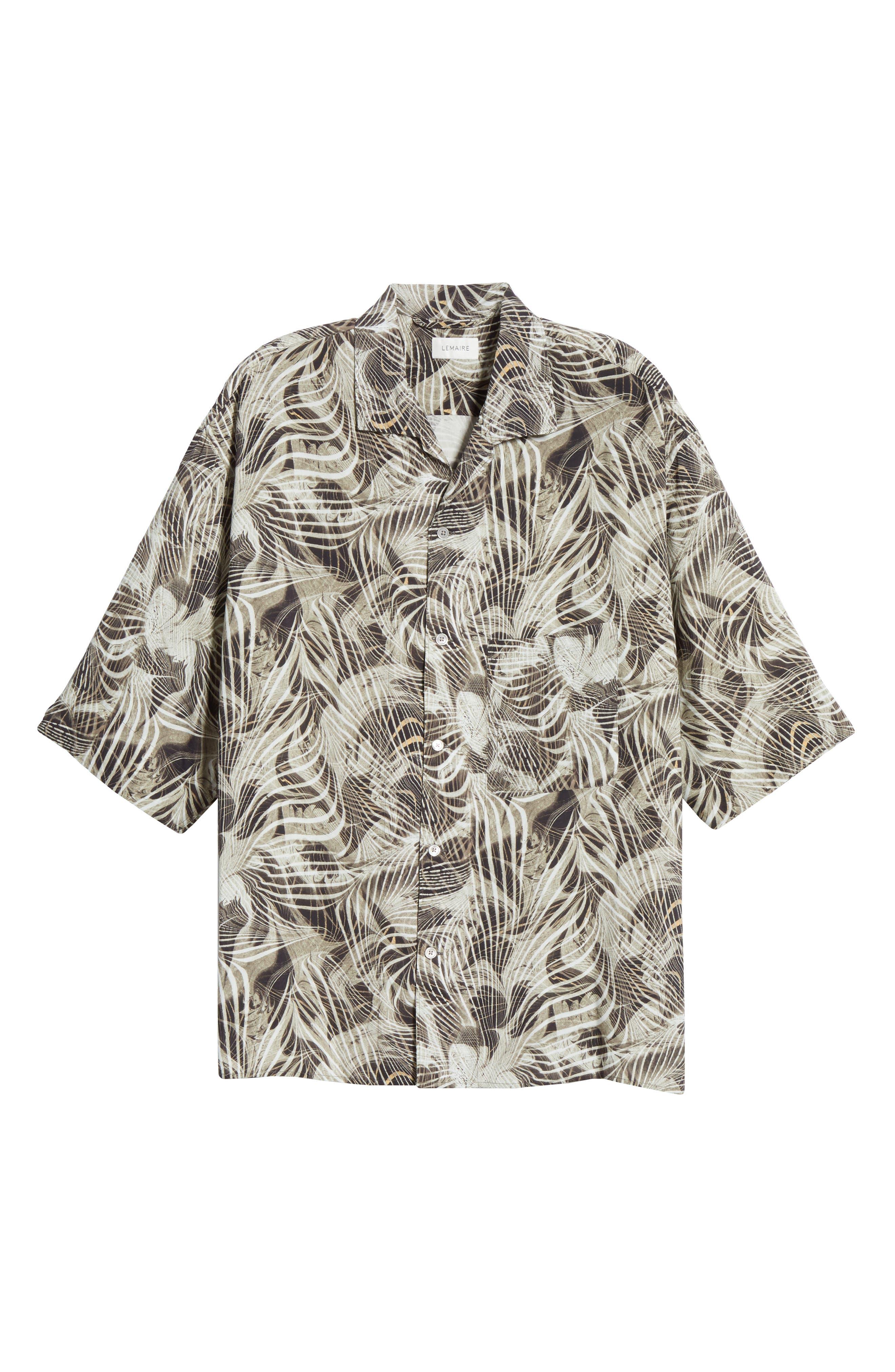 LEMAIRE, Tropical Print Sport Shirt, Alternate thumbnail 6, color, CHALK BLACK